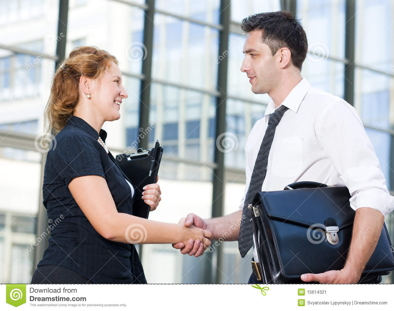 Business Meeting At Office. Handshake In Office Stock Photo ...