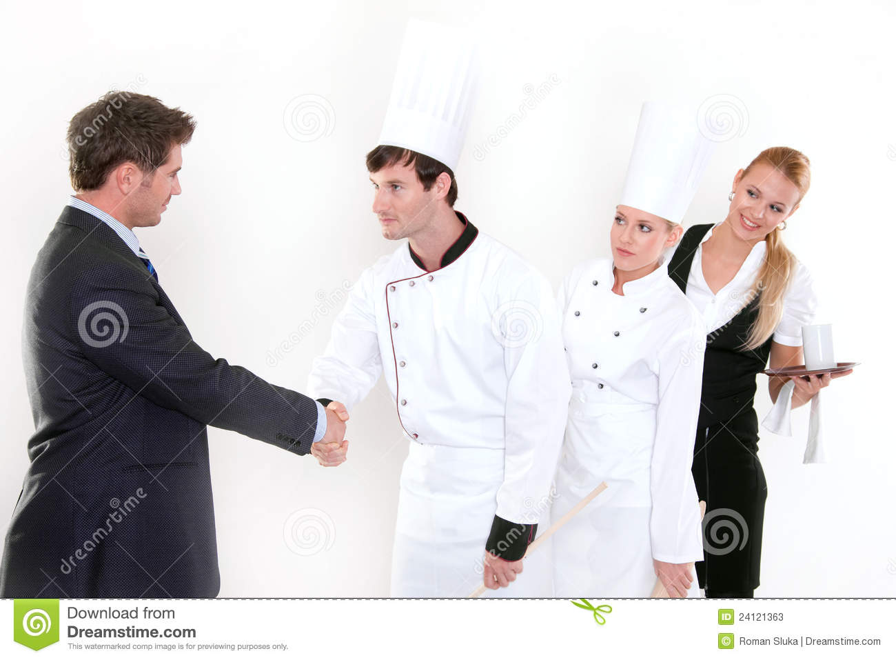 Restaurant Kitchen Staff handshake - restaurant manager and kitchen staff stock photos