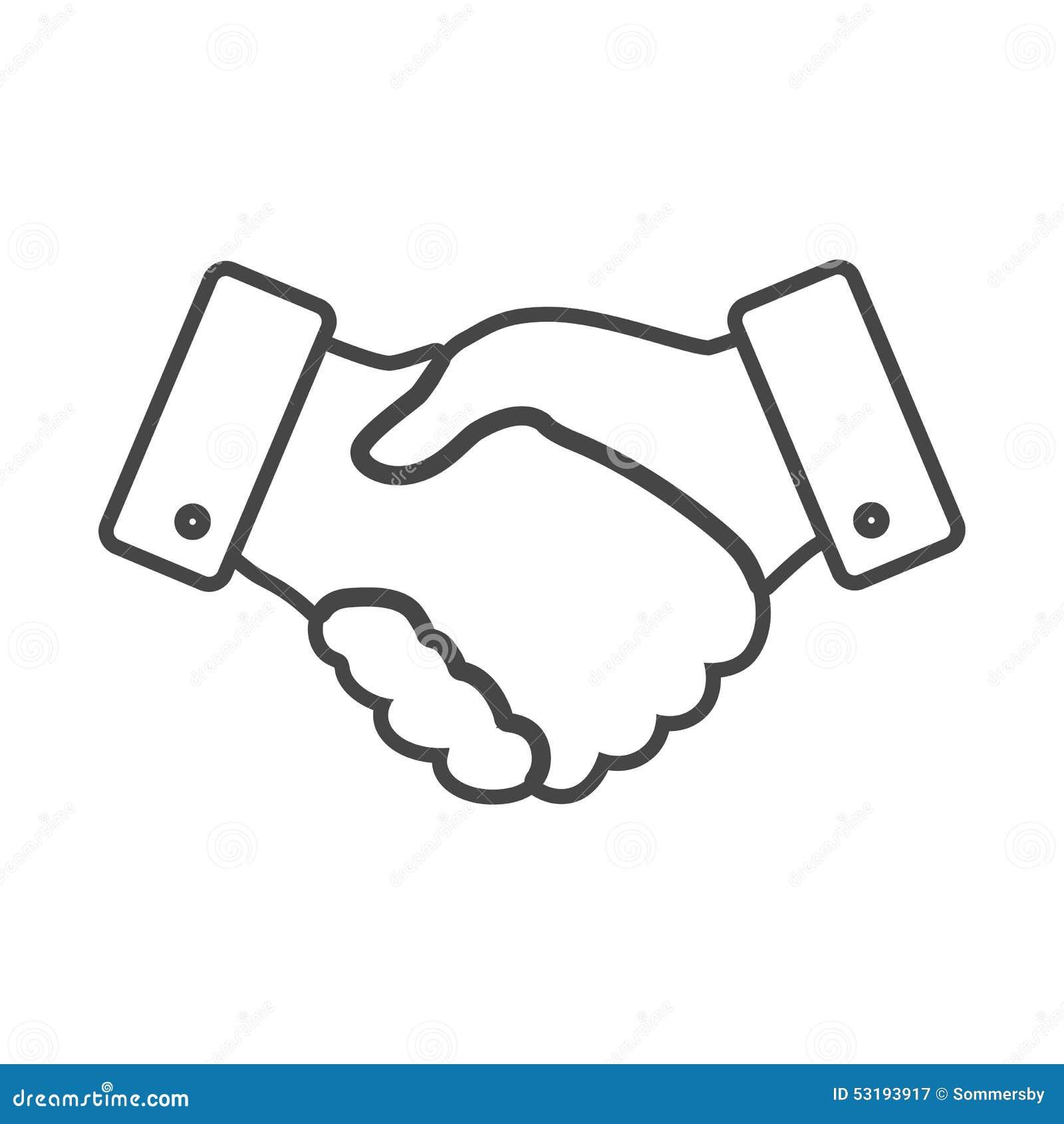 handshake thin line design icon stock vector   image 53193917
