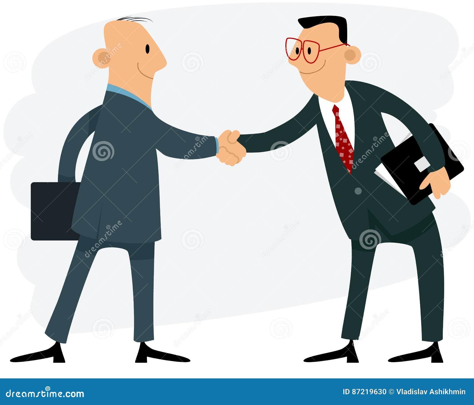 Handskakning för två affärsmän