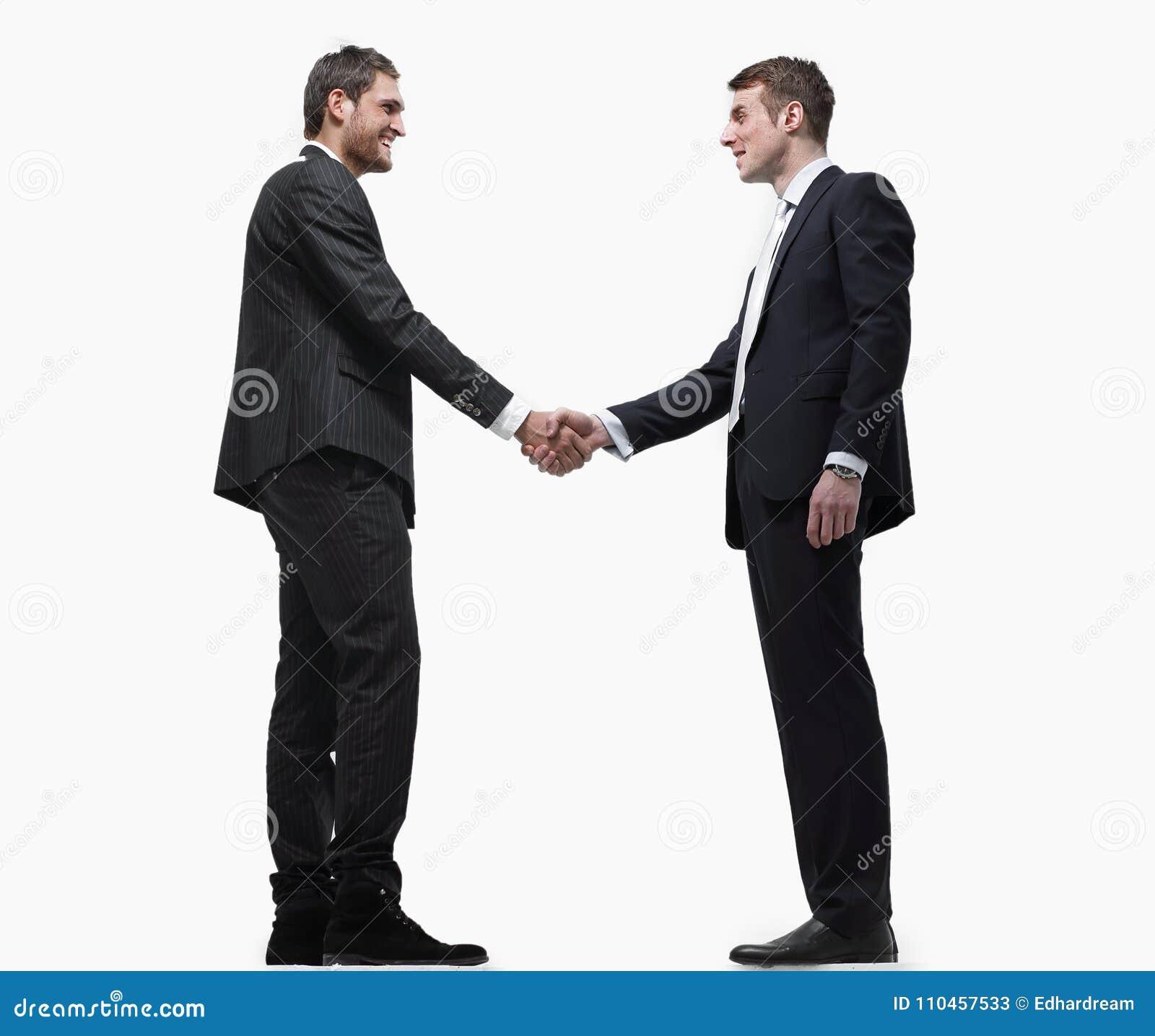 Handskakningaffärspartners bakgrund isolerad white