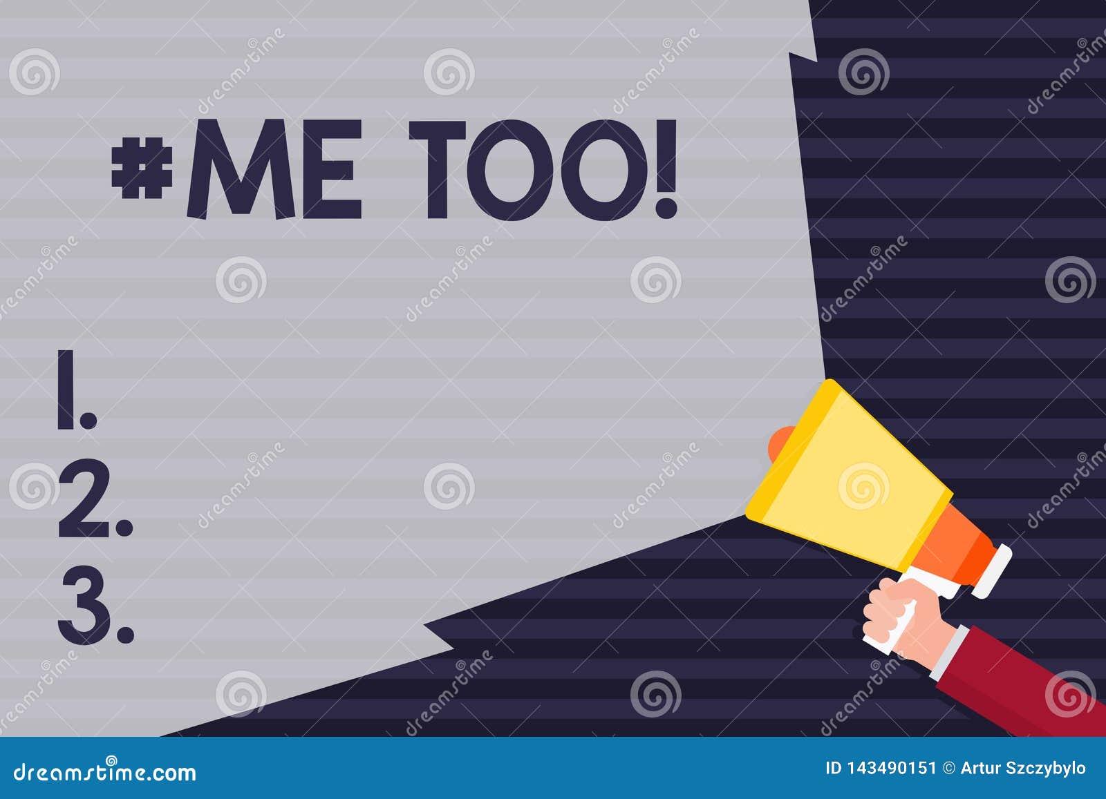 Handskrifttext Hashtagme för Begreppsbetydelsen växer stark och modig nog för att anmäla missbruk, mobbning, anfallhand