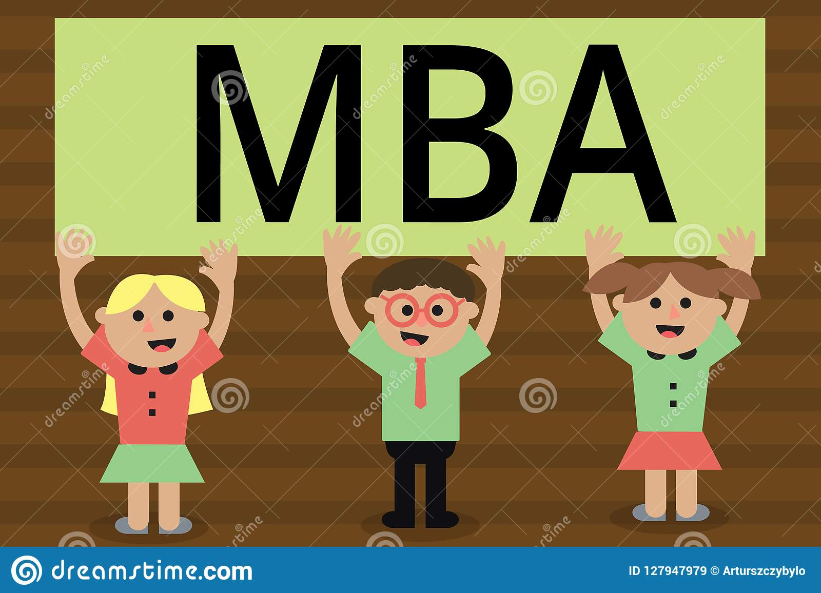 Handskrifttext som skriver Mba Begrepp som betyder avancerad grad i affärsfält liksom administration och marknadsföring