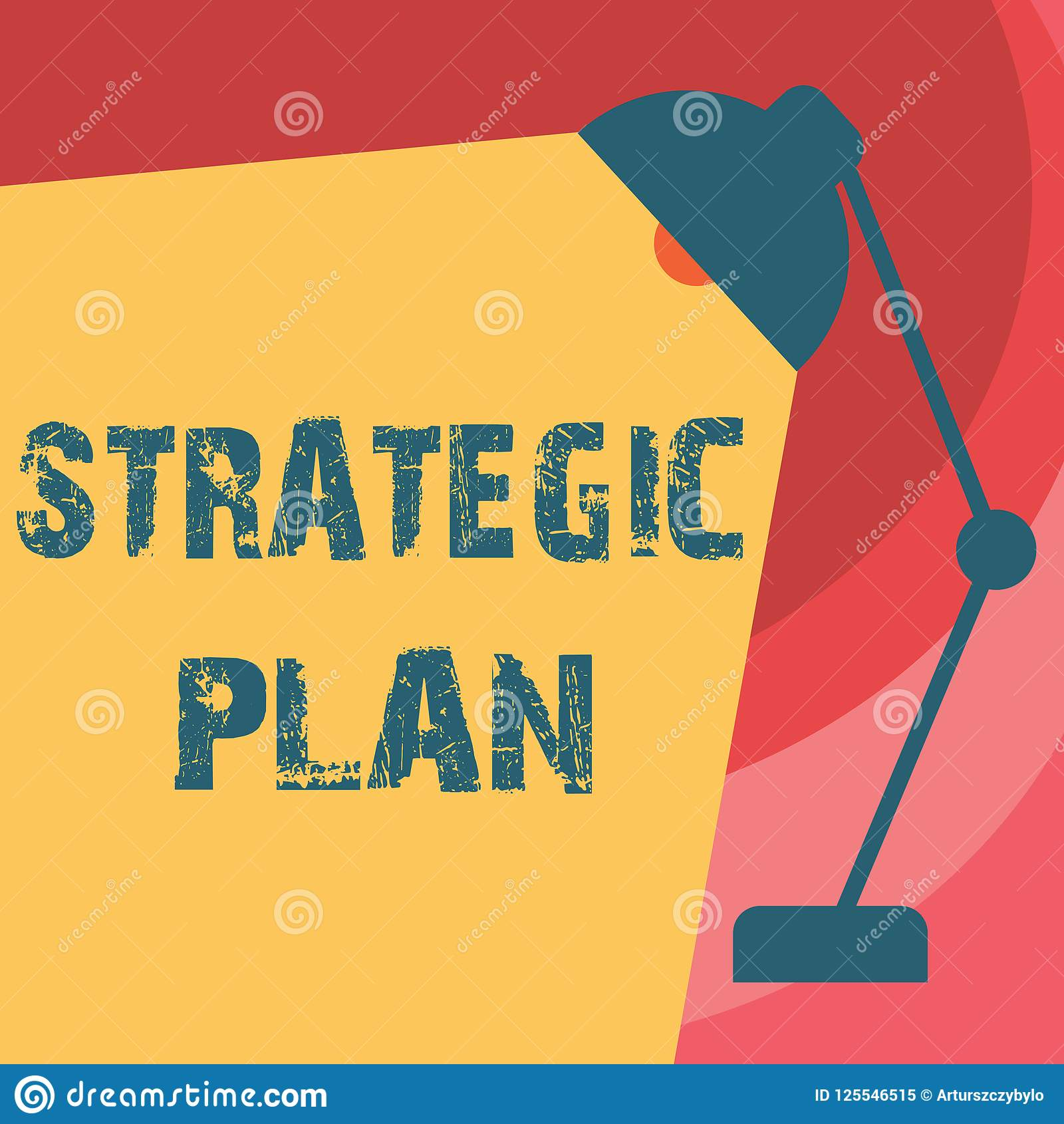 Handskrifttext som skriver strategiskt plan Begrepp som betyder a-process av att definiera strategi och att göra beslut