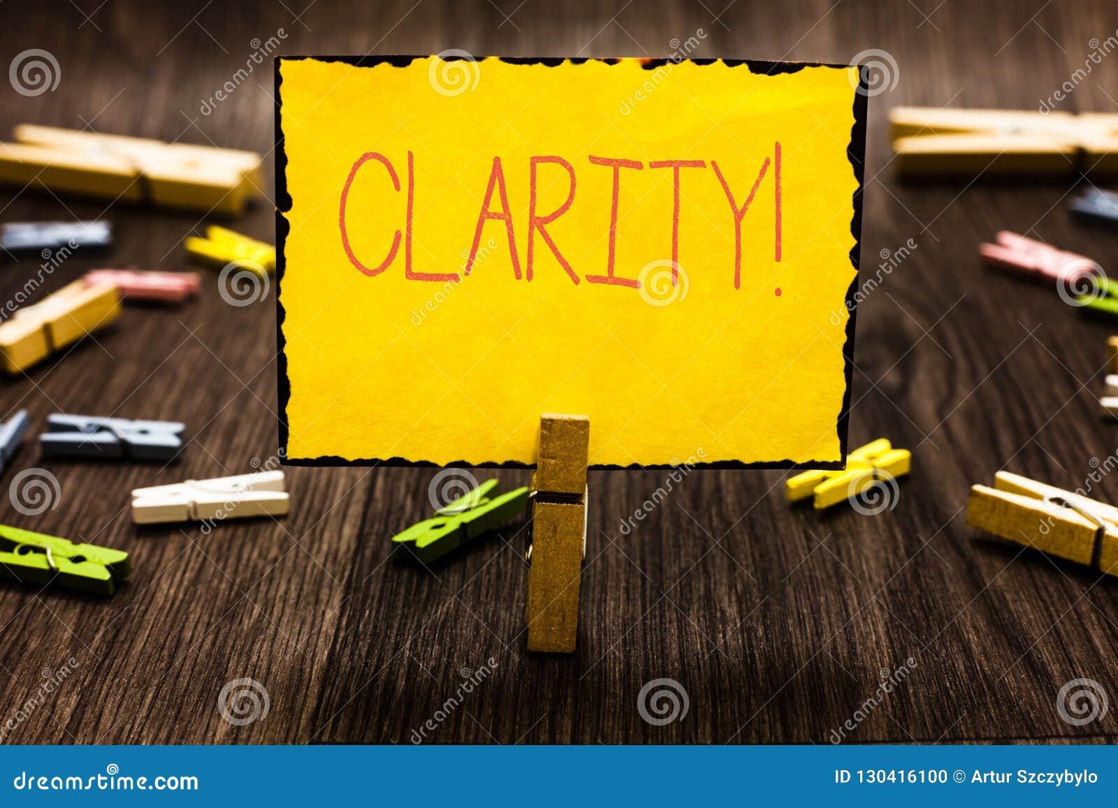 Handskrifttextklarhet Begrepp som betyder kvalitet av att vara lätt att se eller höra skärpa av den solida klädnypan för bild