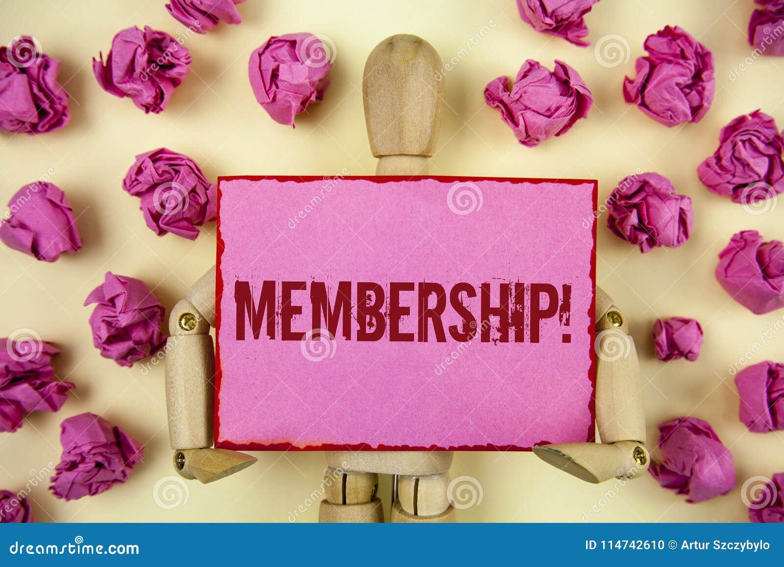 Handskrifttextmedlemskap Begreppsbetydelsen som den är medlemdelen av en grupp eller laget, sammanfogar organisationsföretaget so