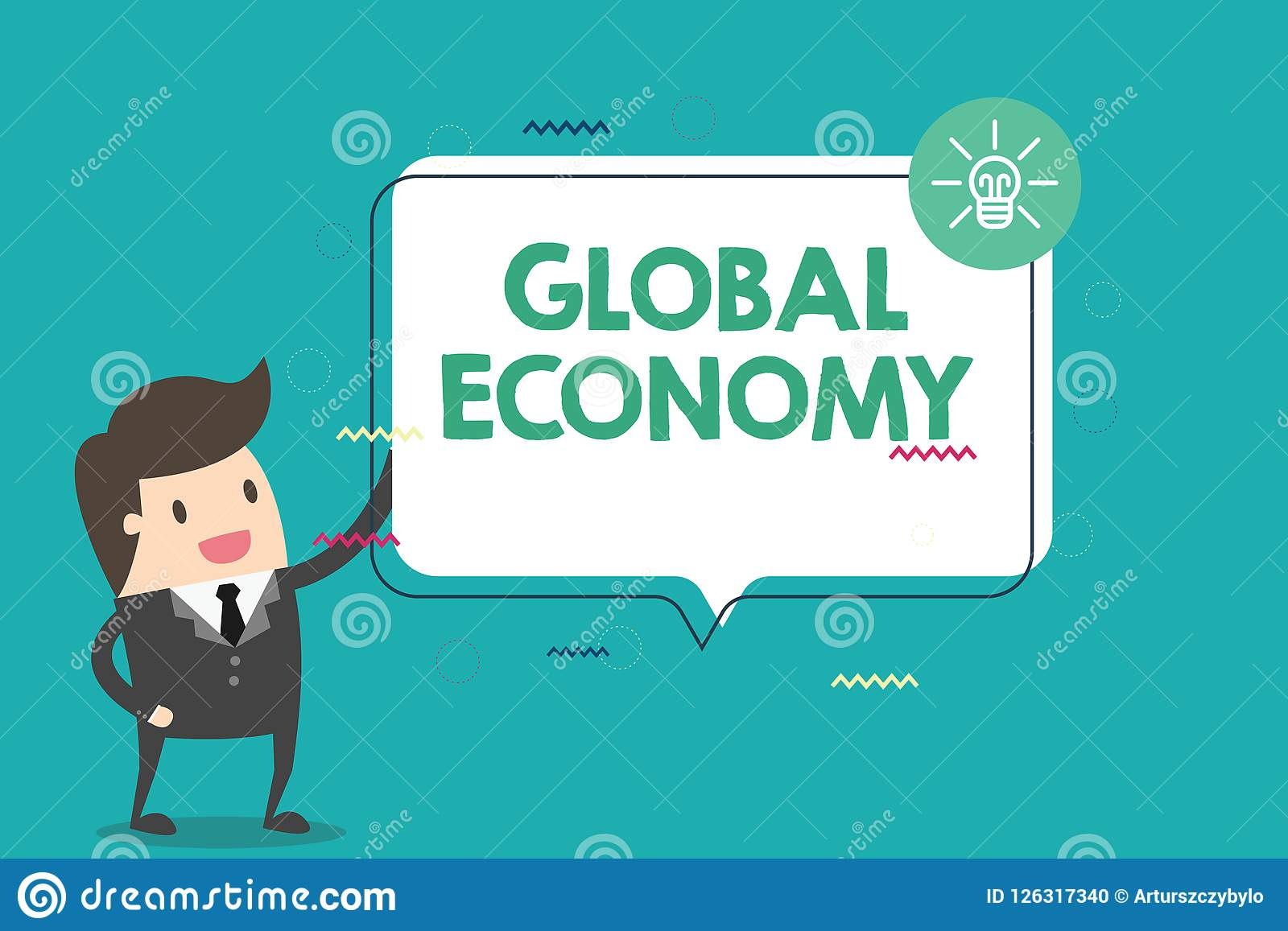 Handskrifttextvärldsekonomi Menande system för begrepp av kapitalism för bransch och för handel runt om världen