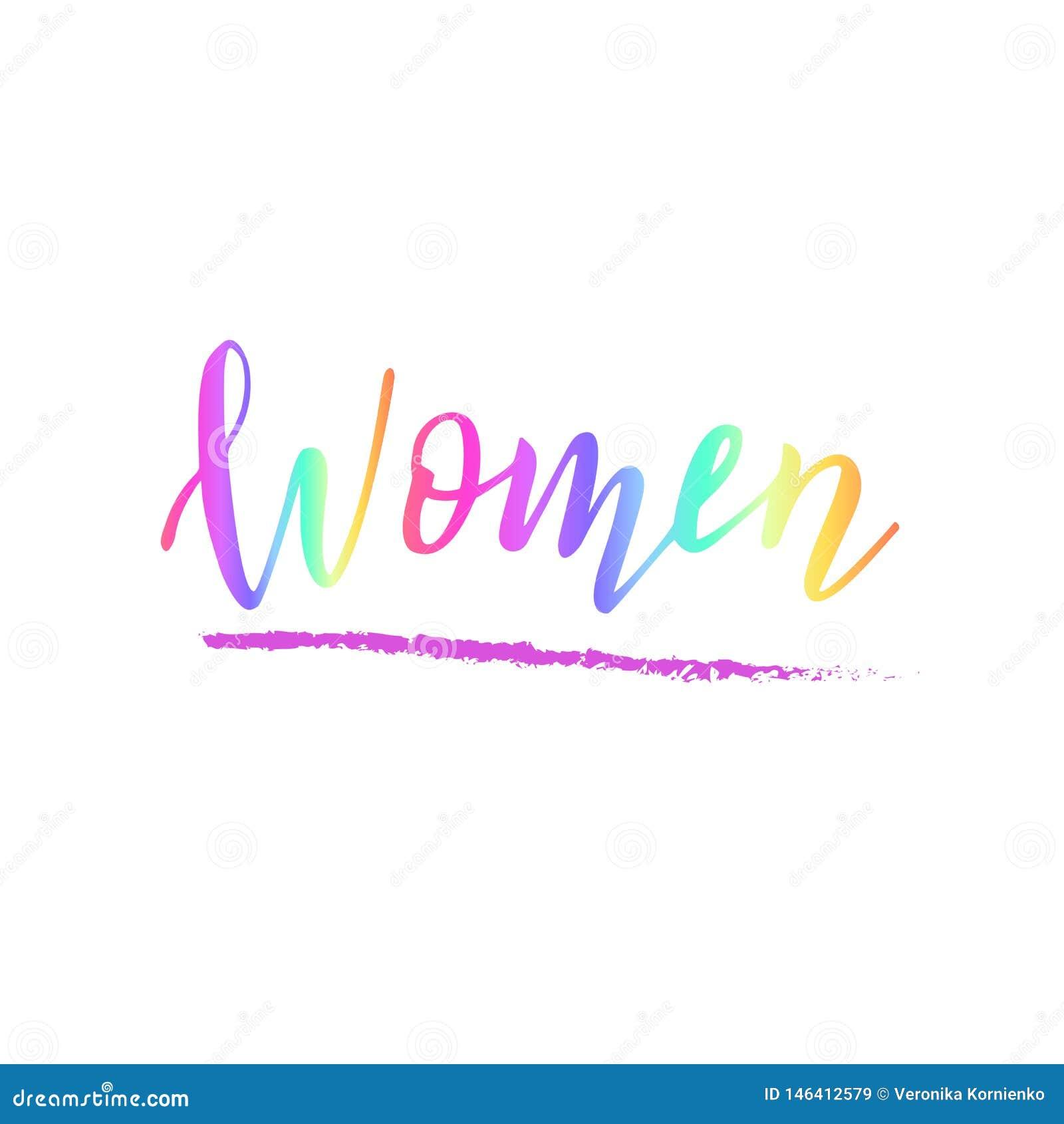Handskriven kvinnatext Begrepp av kvinnlig mångfald Feministiskt citationstecken