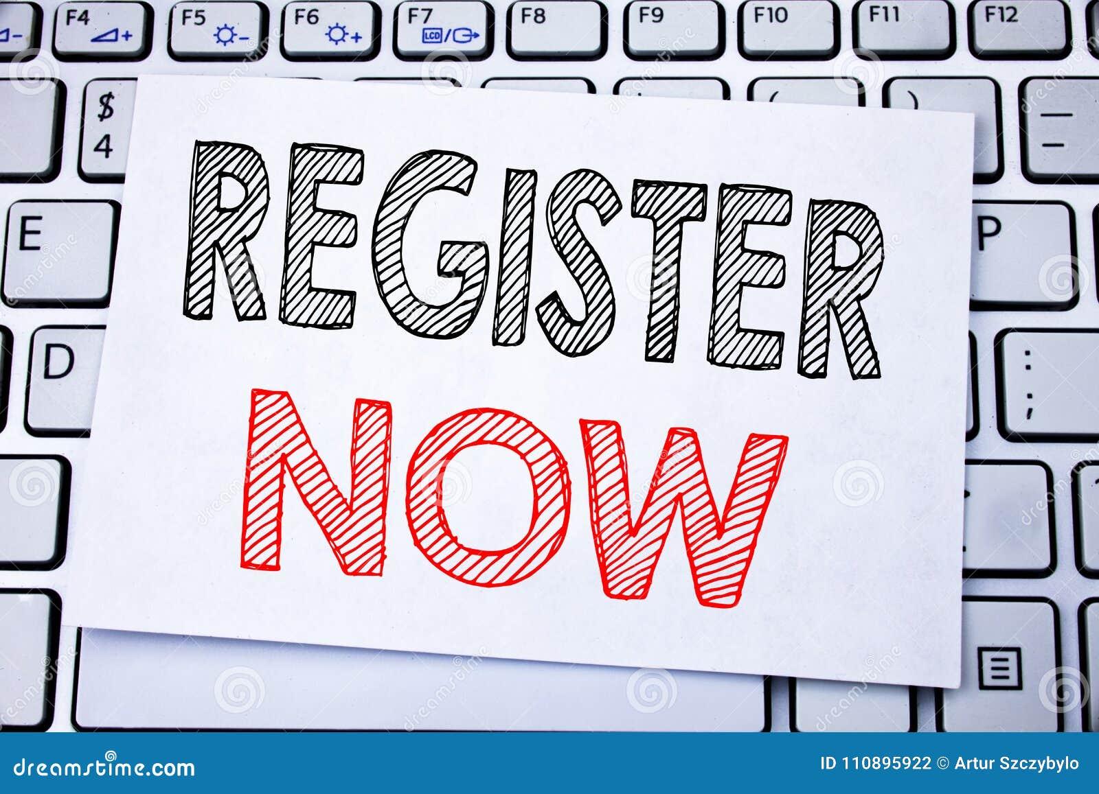 Handskrivet register för textöverskriftvisning nu Affärsidéhandstil för registreringen för skriftligt på klibbigt anmärkningspapp