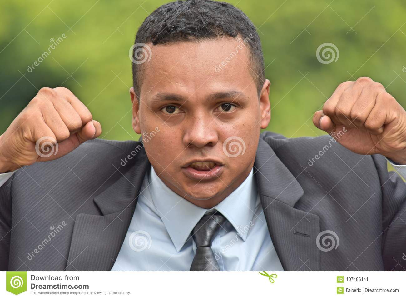 Angry Adult Business Executive Wearing Suit
