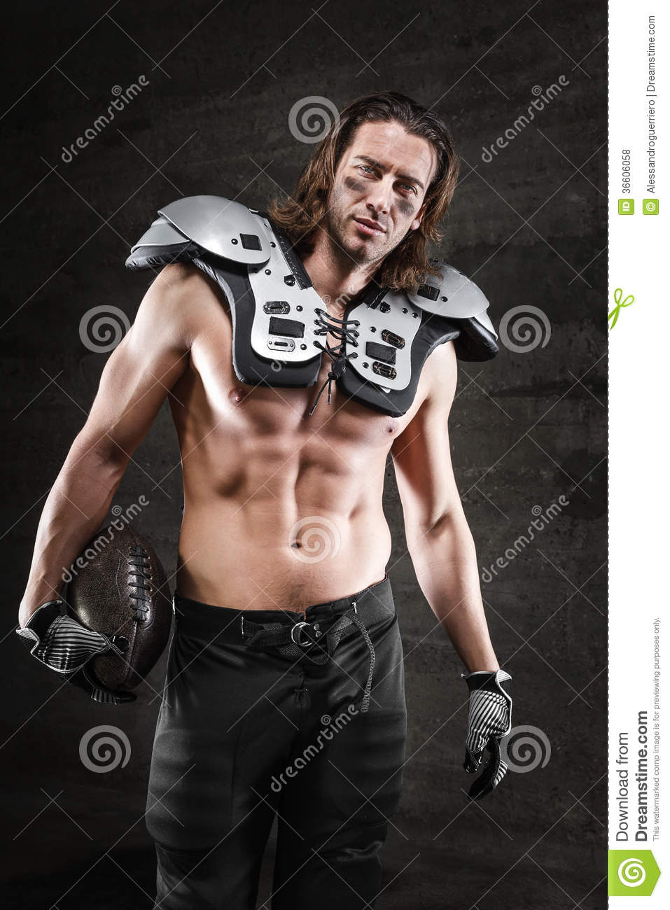Handsome american football player