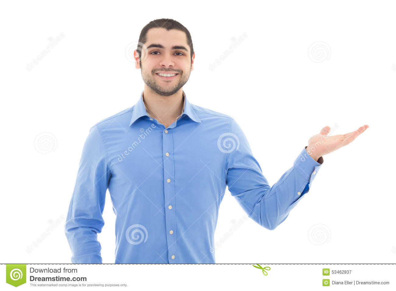 9f2d331de1a Handsome Arabic Business Man In Blue Shirt Pointing At Something ...