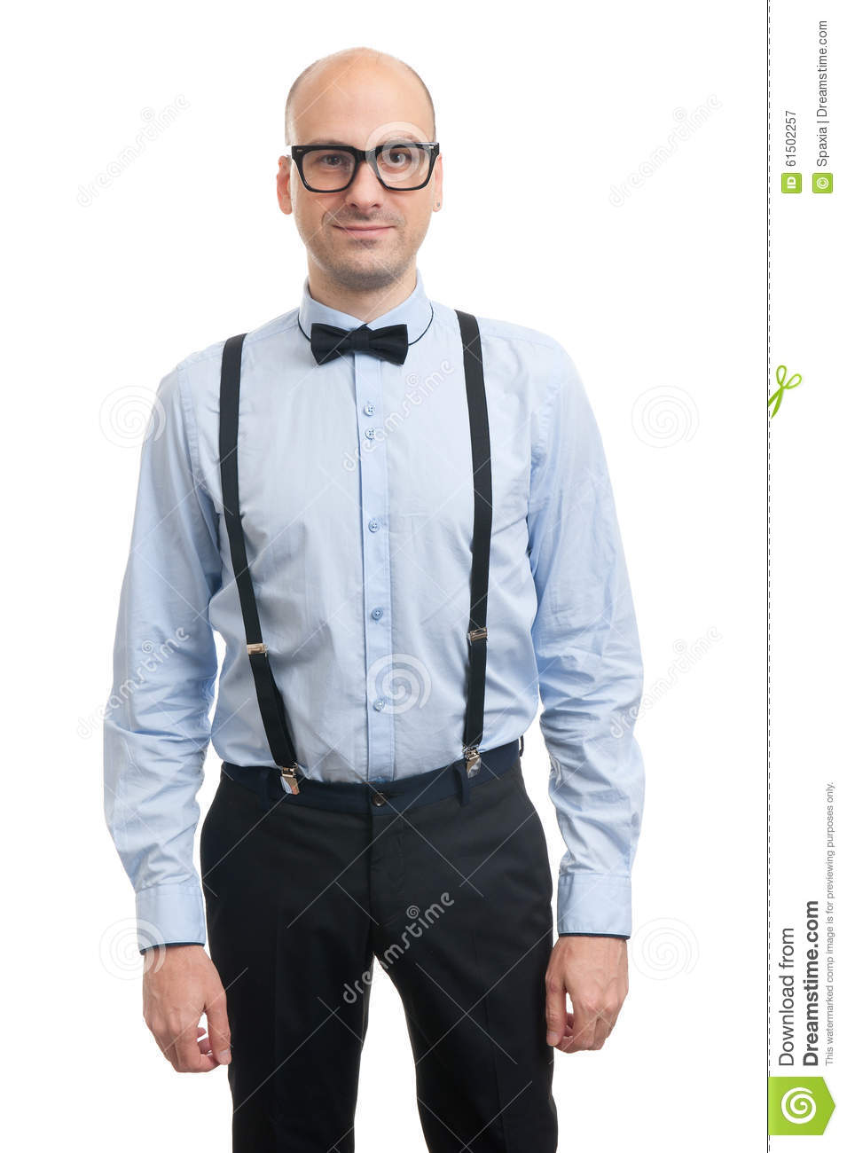 672ba44690c6 Handsome Bald Guy With Suspenders And Bow-tie Stock Image - Image of ...