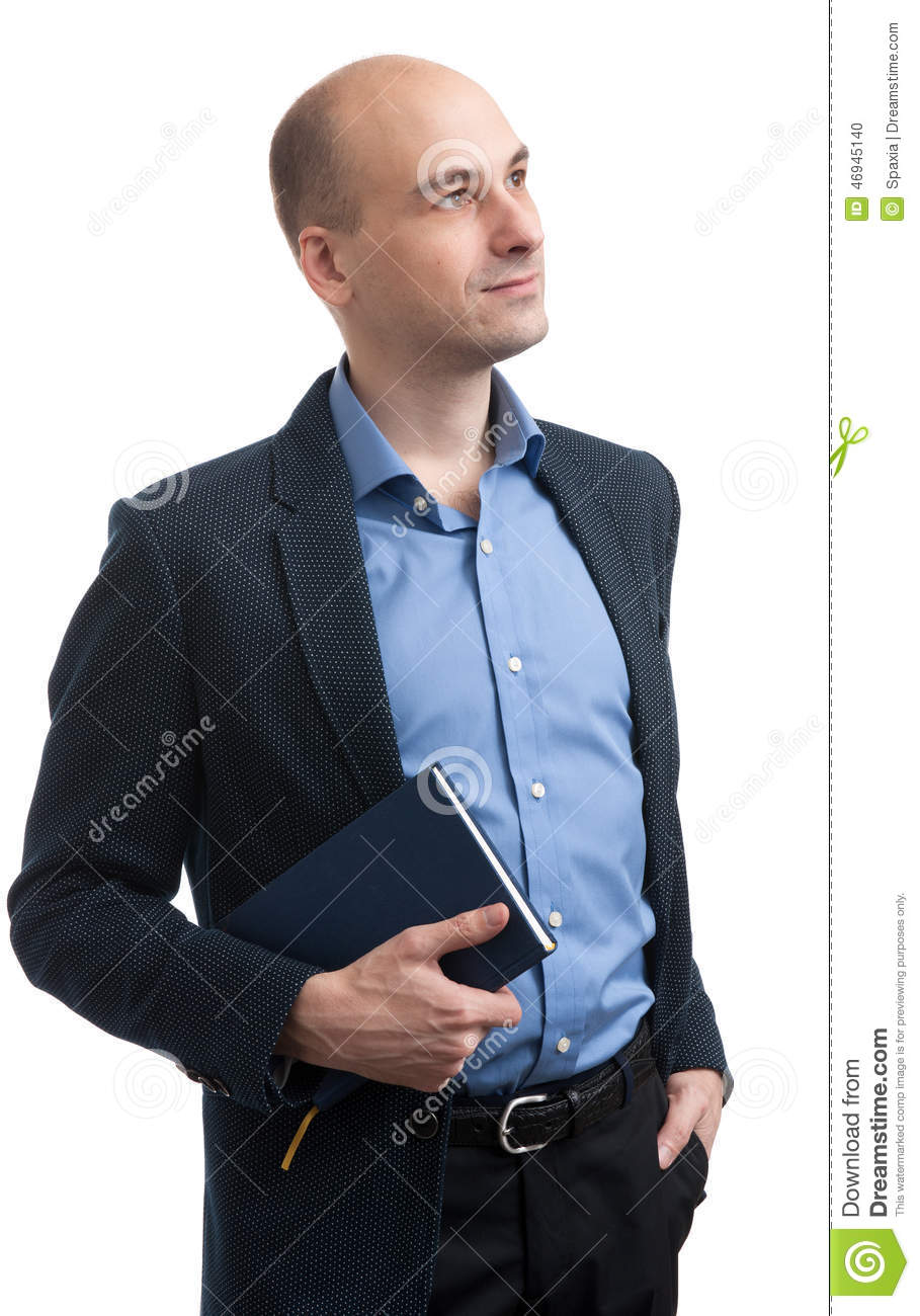 Handsome bald man with book