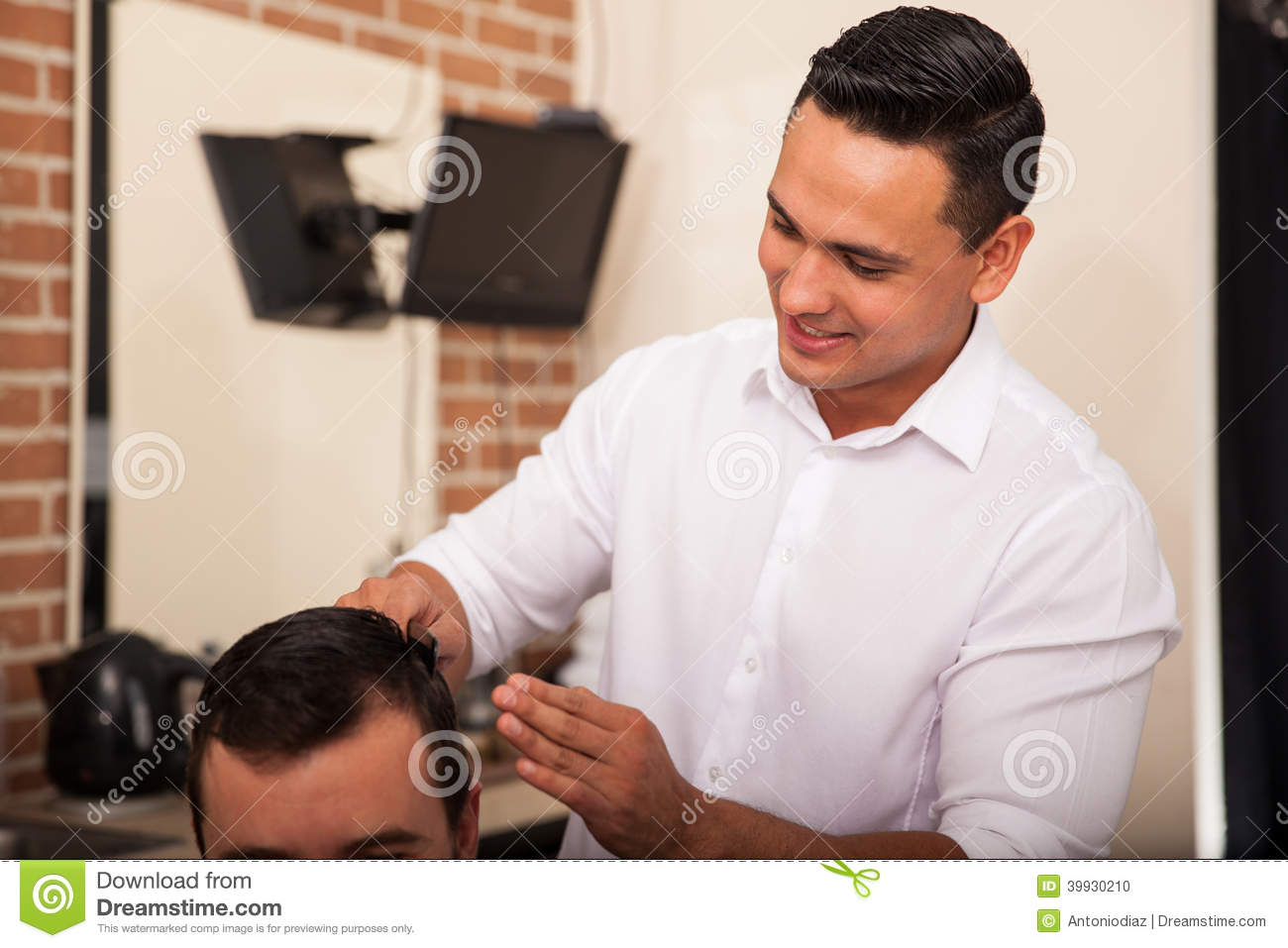 Handsome Barber At Work Stock Photo Image Of Happy Male 39930210