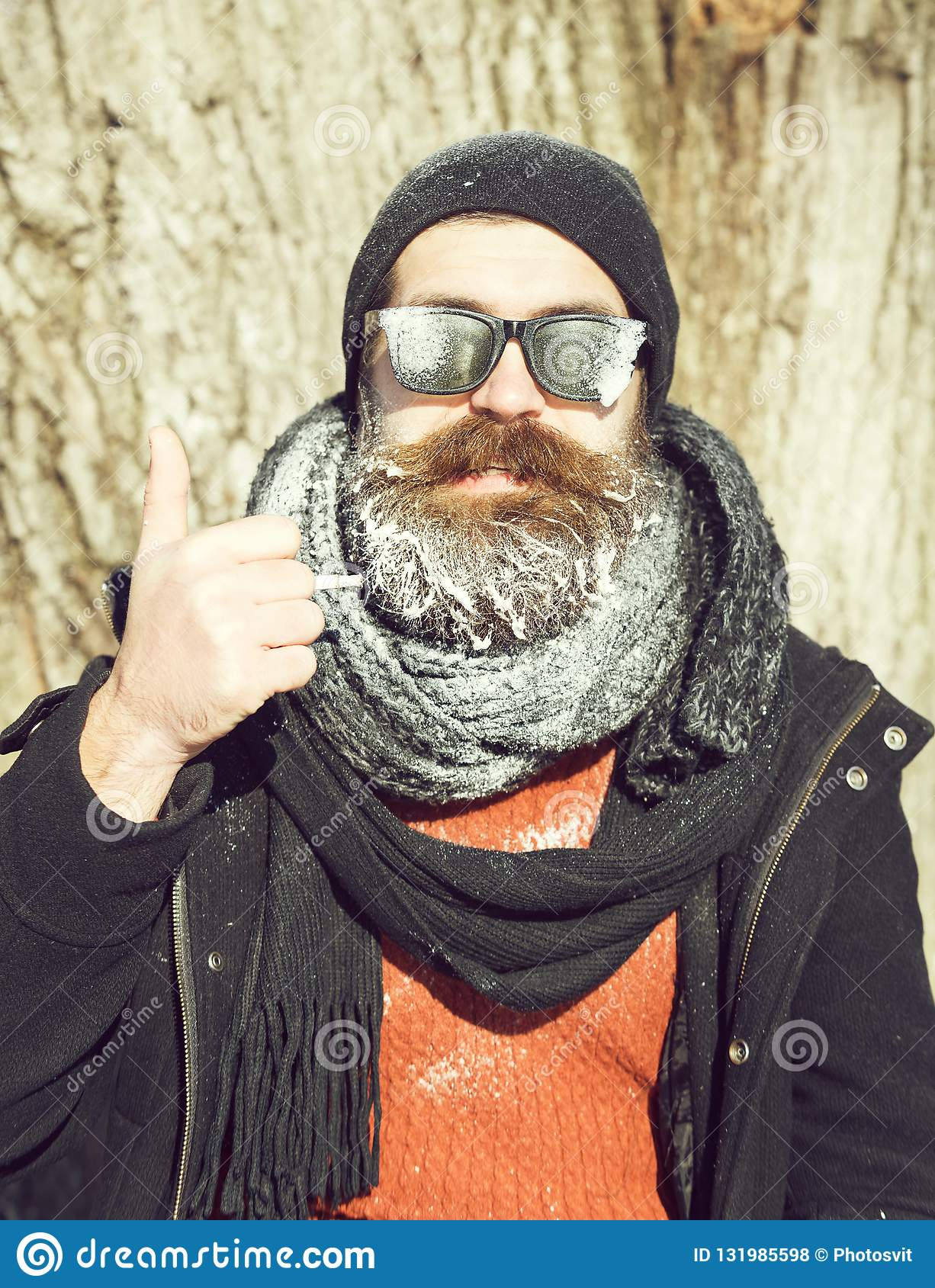 ManHipsterWith And Beard In Handsome Black Bearded Moustache 1JKulcF3T