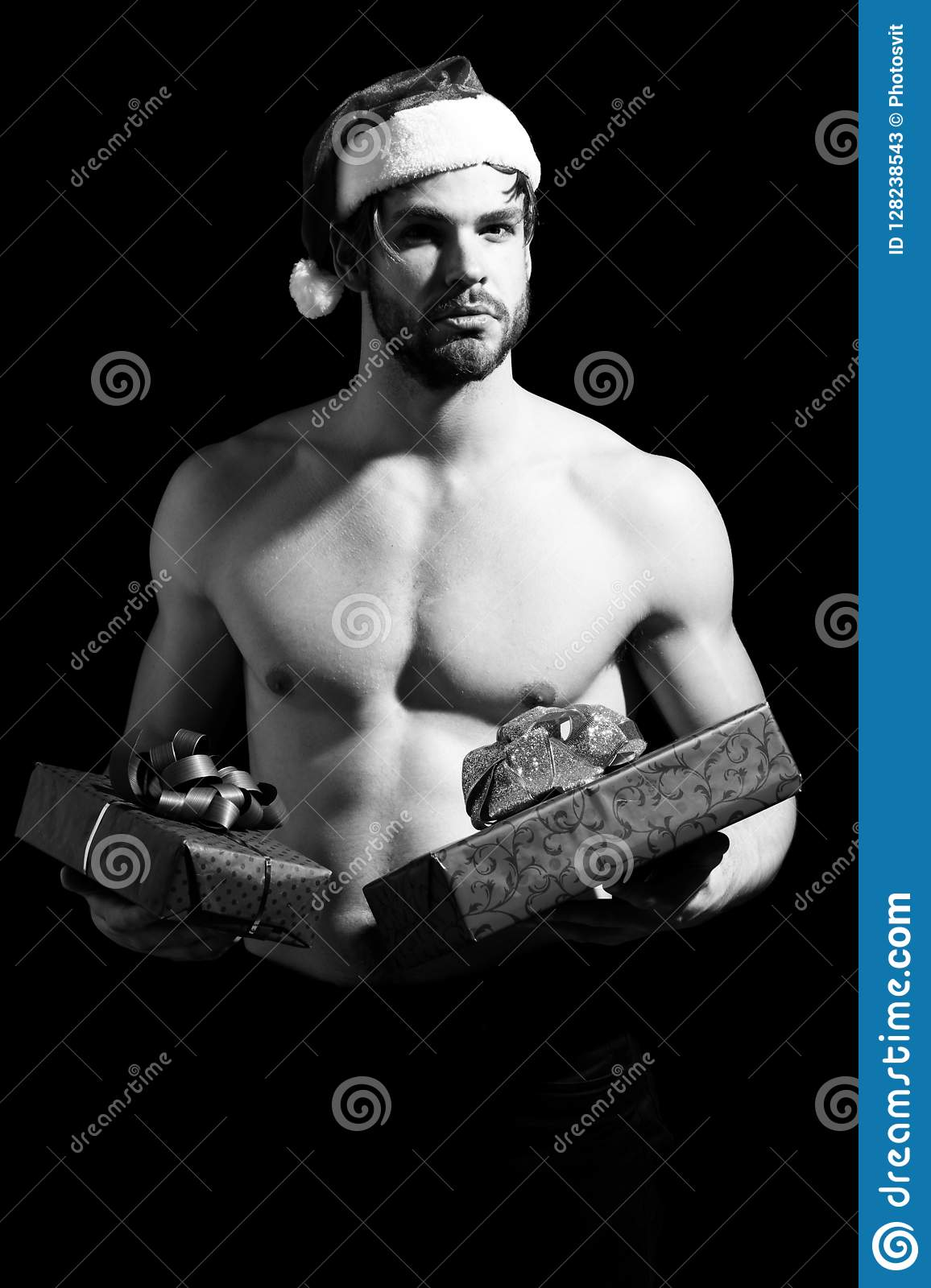 Handsome Bearded Man Or Christmas Guy With Muscular Body ...