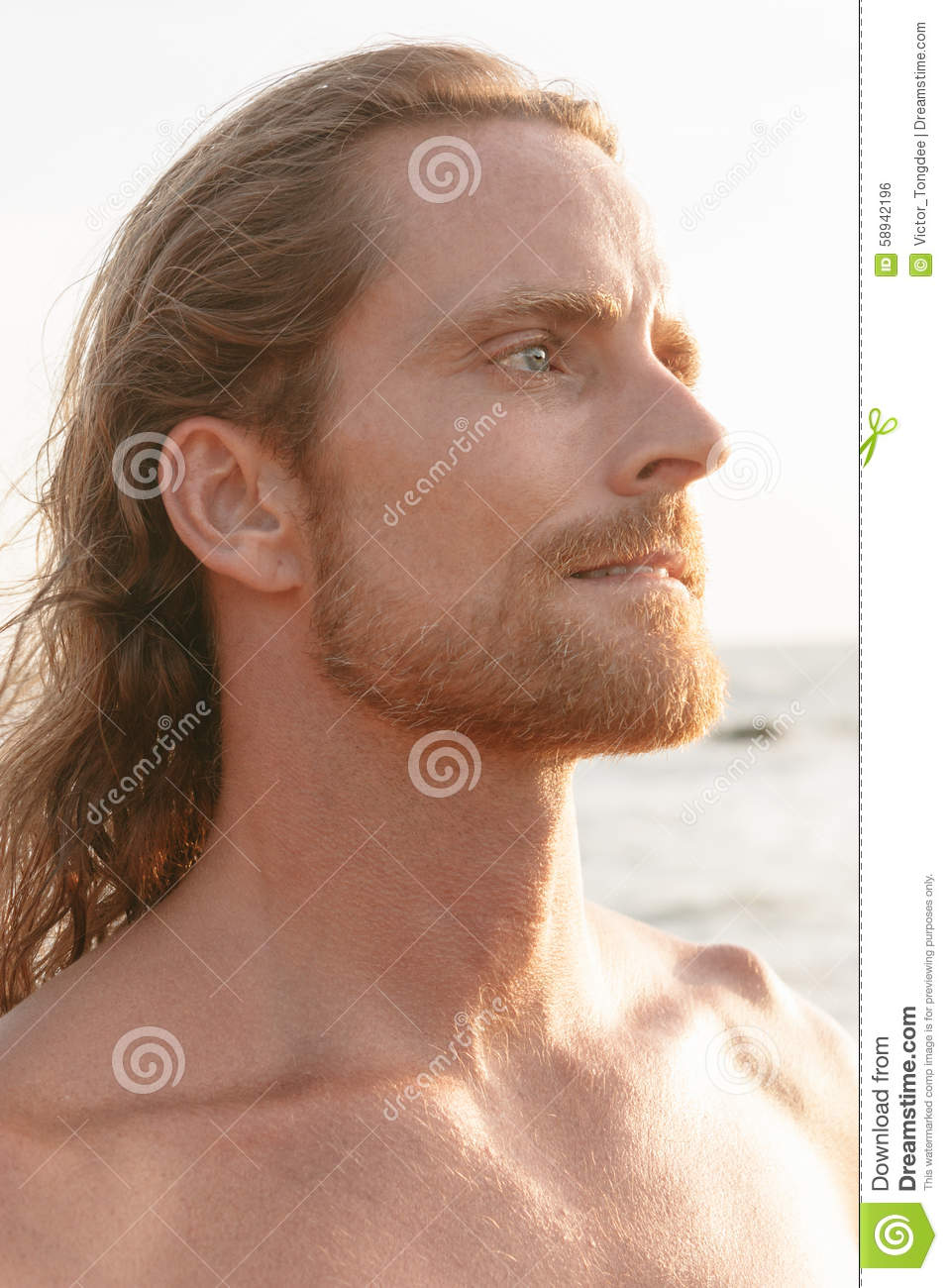 Handsome Bearded Man With Shoulder Length Hair Stock Photo Image Of Lifestyle Frown 58942196