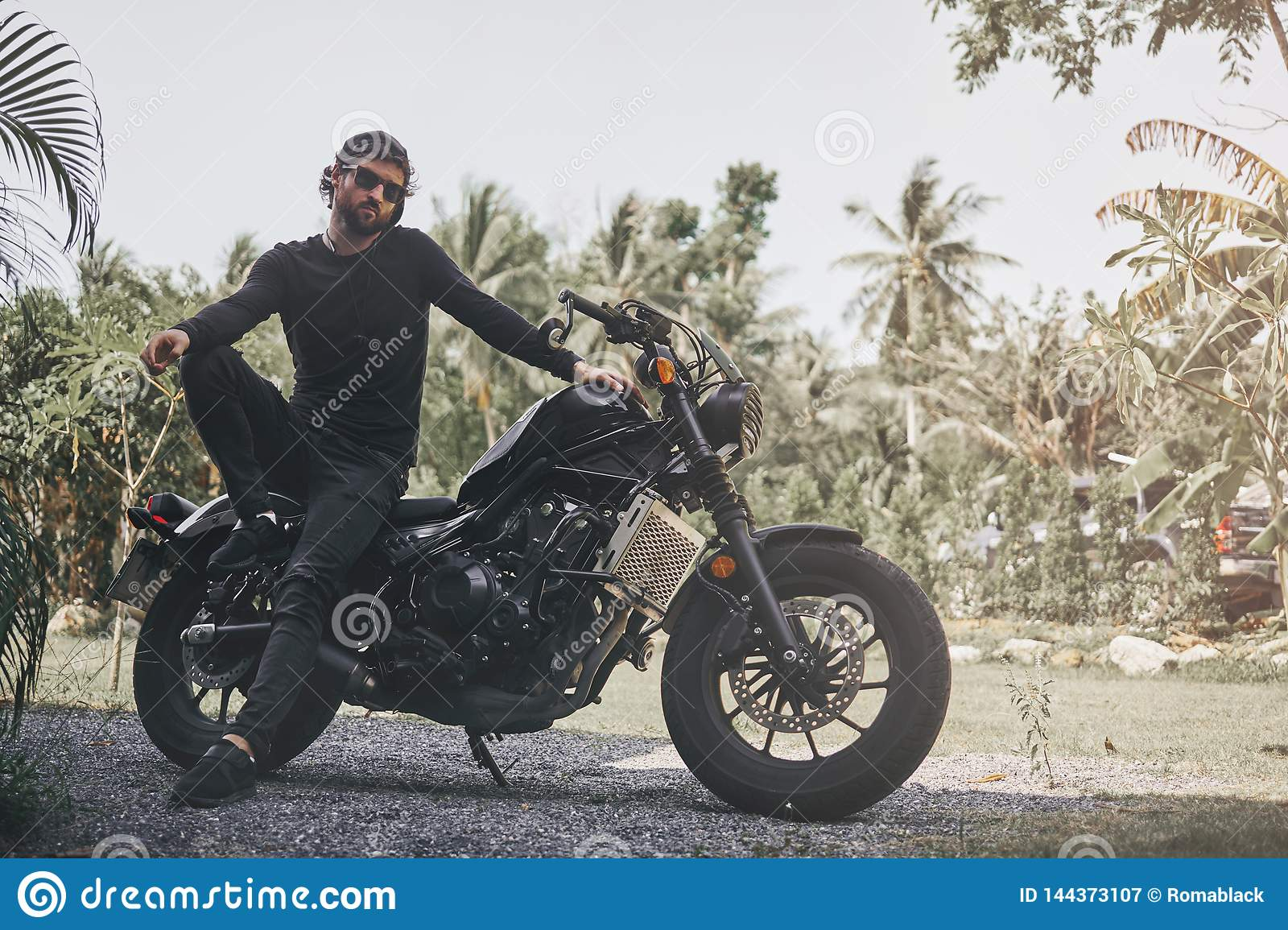 Handsome Biker Man In Black Wear Sit On Classic Style Cafe Racer Motorcycle Custom Made Motorcycle Stock Image Image Of Bike Retro 144373107