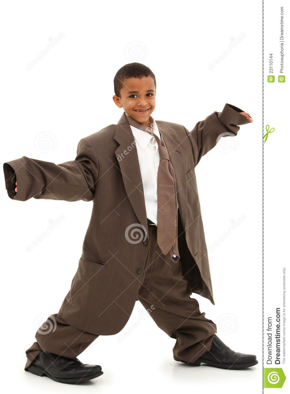 ... Black Boy Child in Baggy Business Suit laughing and walking over white