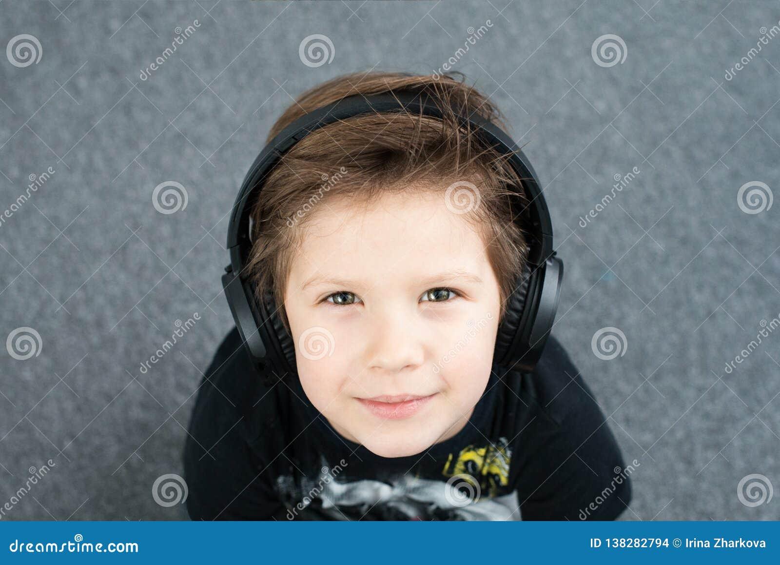 Handsome boy in headphones