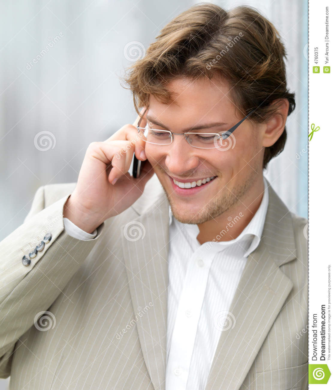 Man On Cell Phone : Royalty free stock photo handsome business man with his