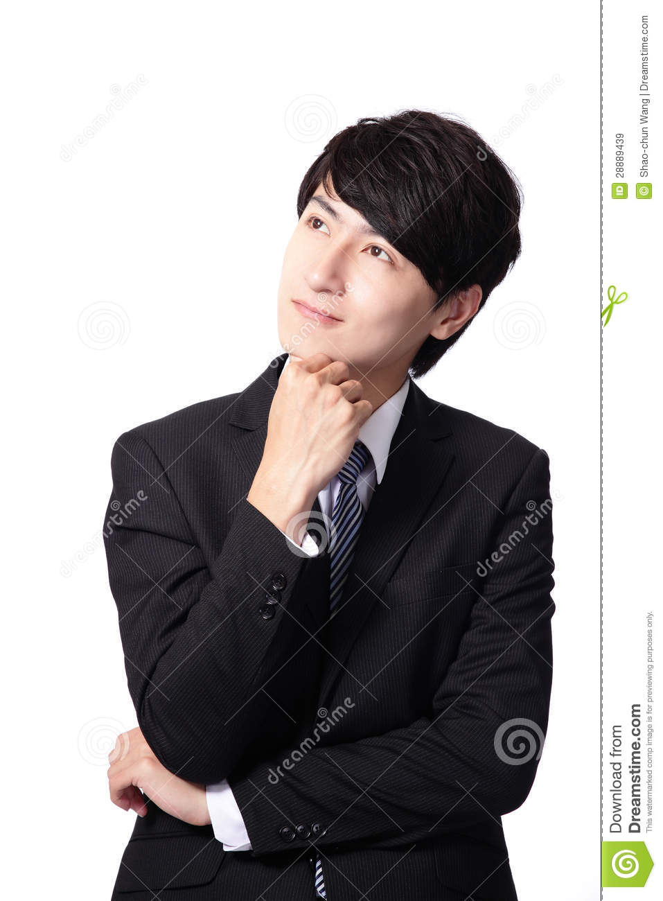 handsome young business man think looking up to empty copy
