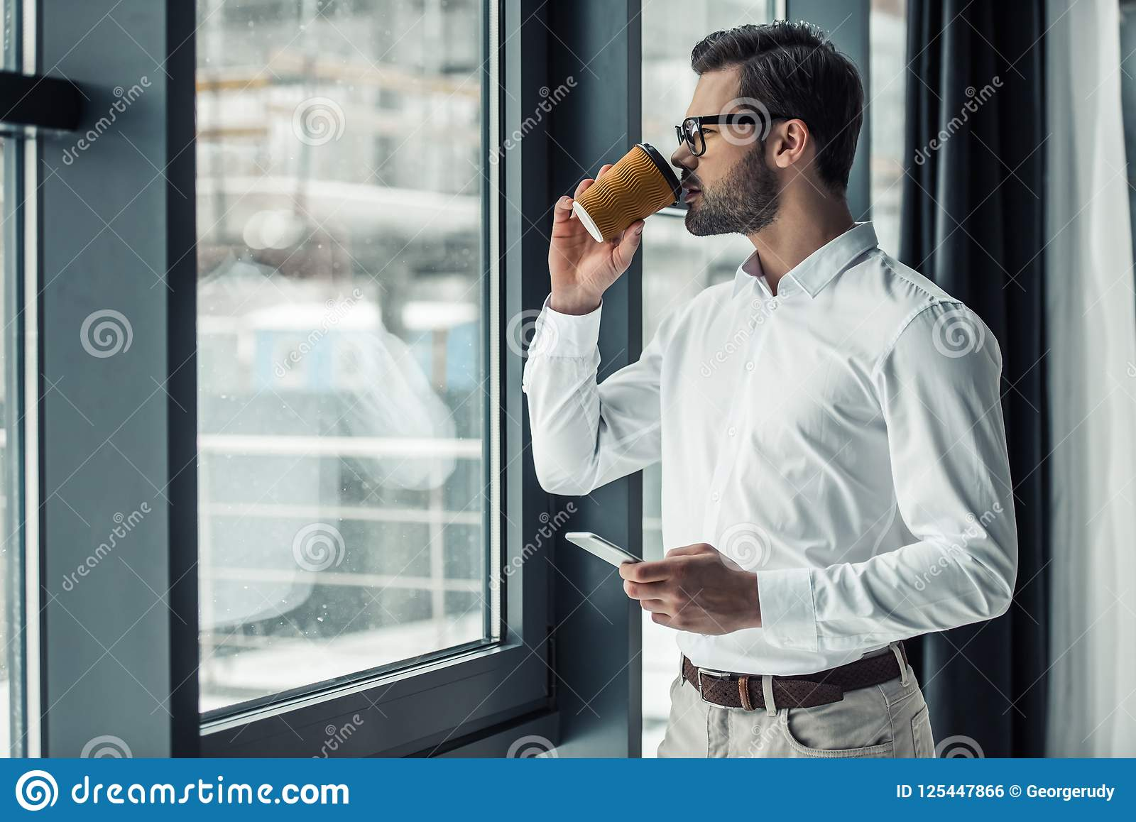 Download Handsome Businessman In Office Stock Photo - Image of indoors, corporate: 125447866