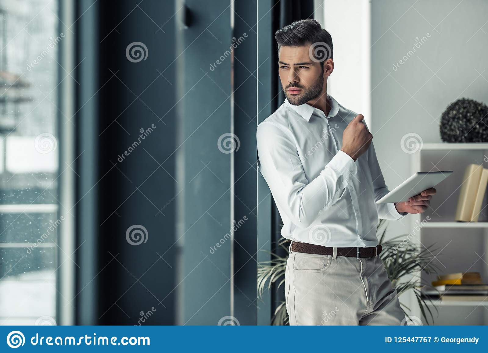 Download Handsome Businessman In Office Stock Image - Image of businessman, office: 125447767