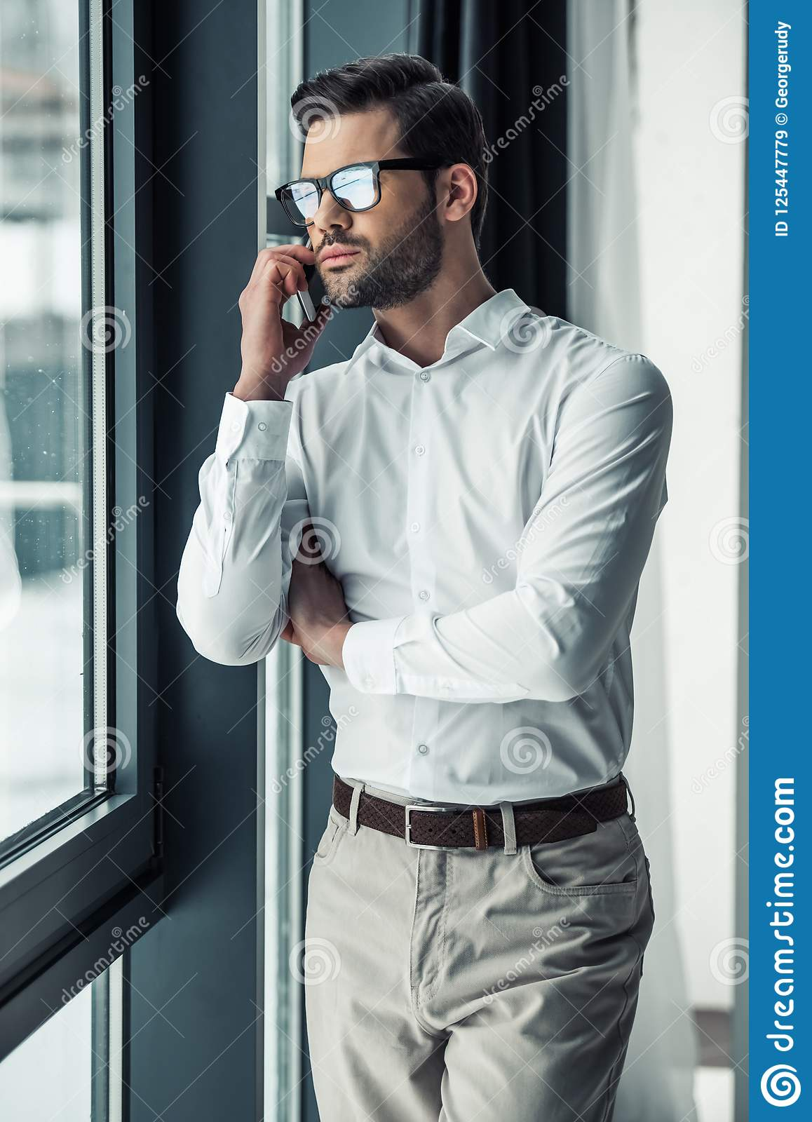 Download Handsome Businessman In Office Stock Image - Image of businessman, executive: 125447779