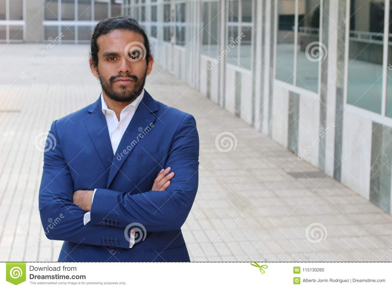 Handsome businessman outside the office building