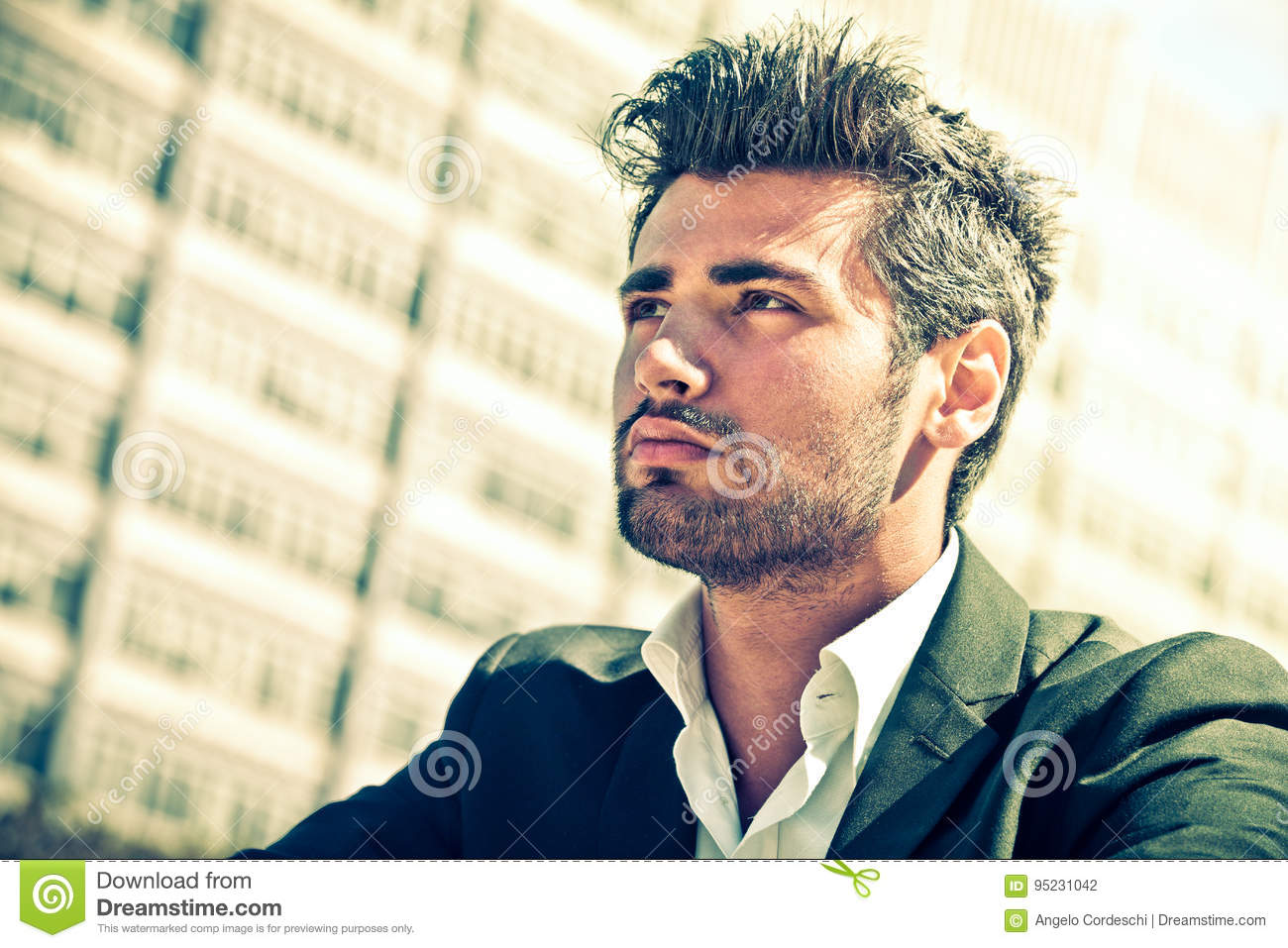 Download Handsome Businessman Thinking. Man Looking. Stock Photo - Image of fashion, adult: 95231042