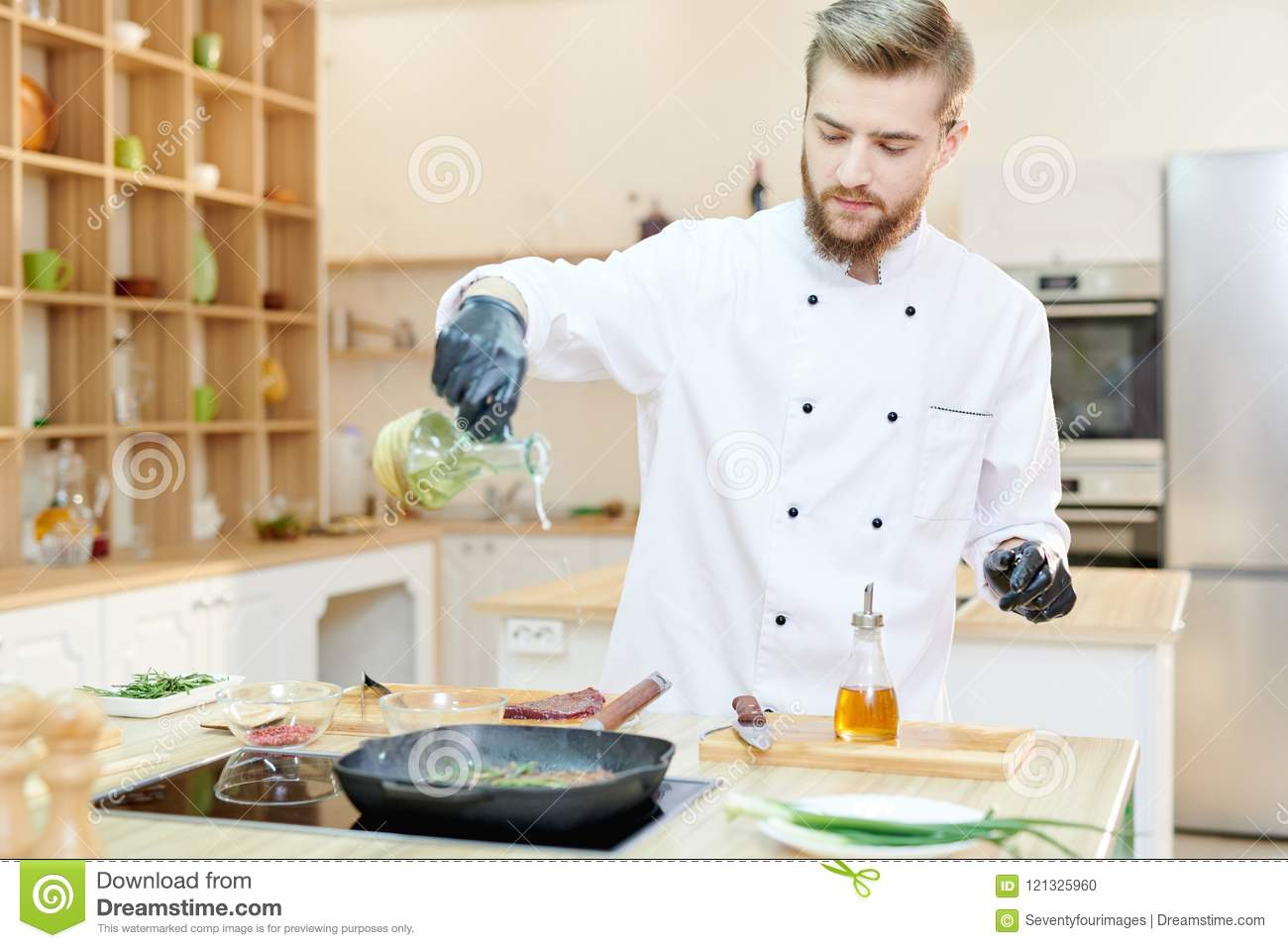 Handsome Chef Cooking In Cafe Stock Photo Image Of Work Ingredients 121325960