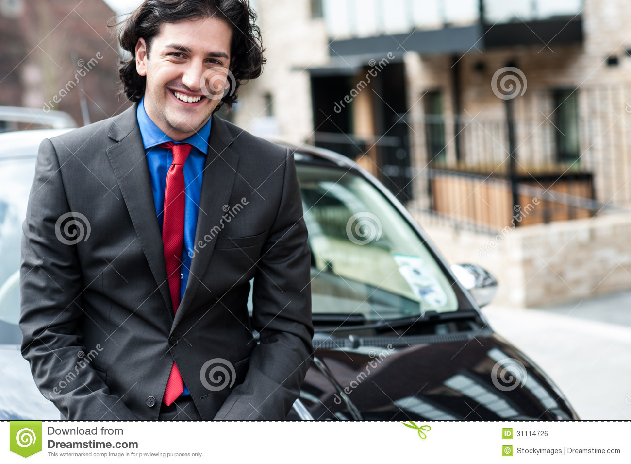 Handsome Corporate Man Posing In Front Of His New Car Stock Photo Image 31114726