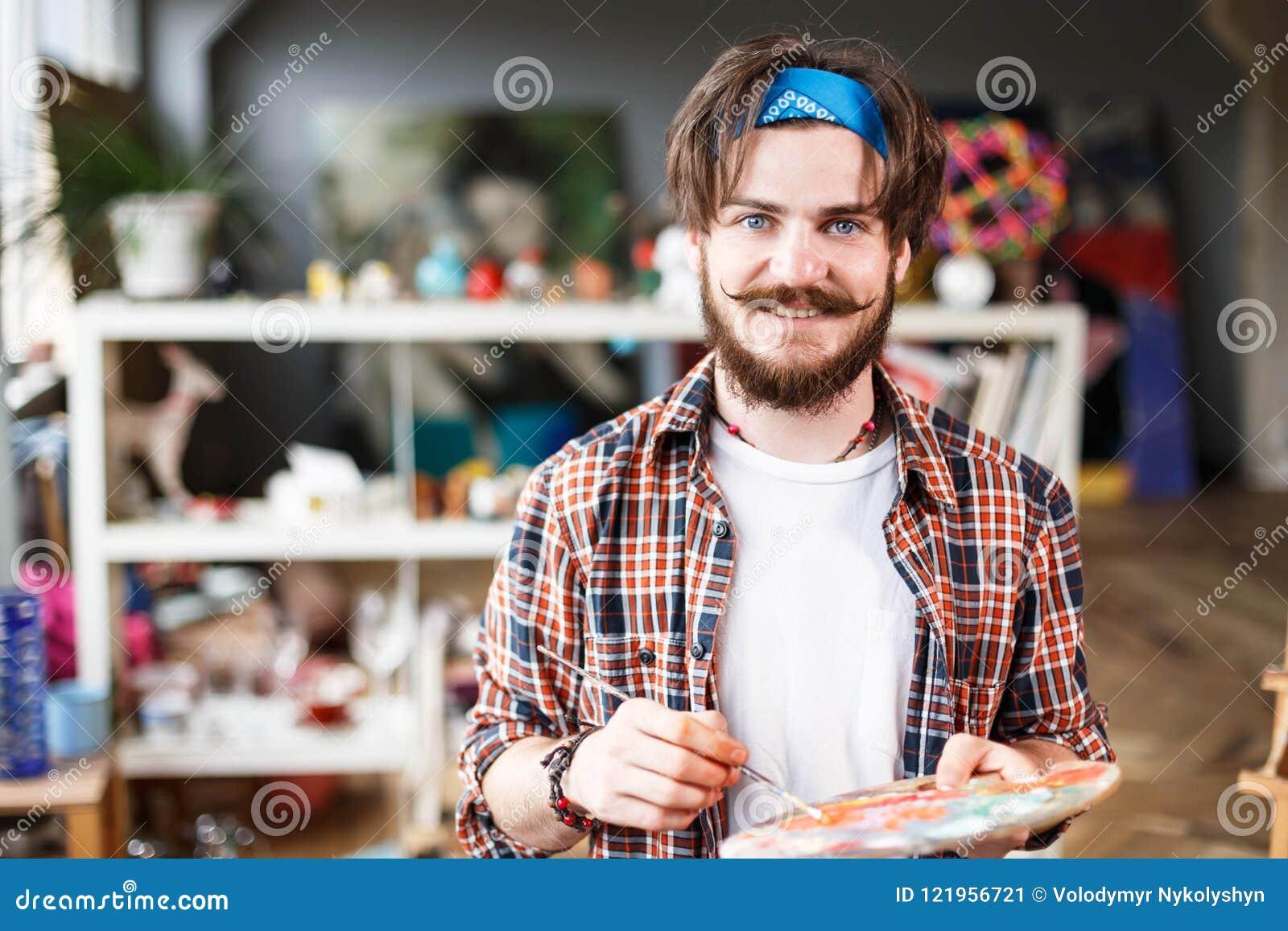 handsome dark haired bearded artist stock image image of acrylic