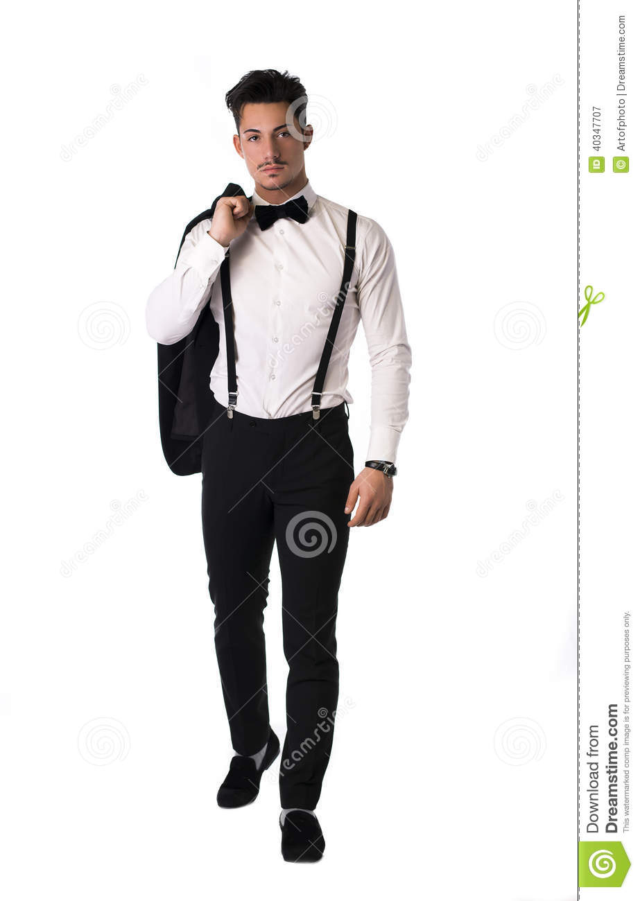 handsome elegant young man with suit and bow tie stock photo image 40347707. Black Bedroom Furniture Sets. Home Design Ideas