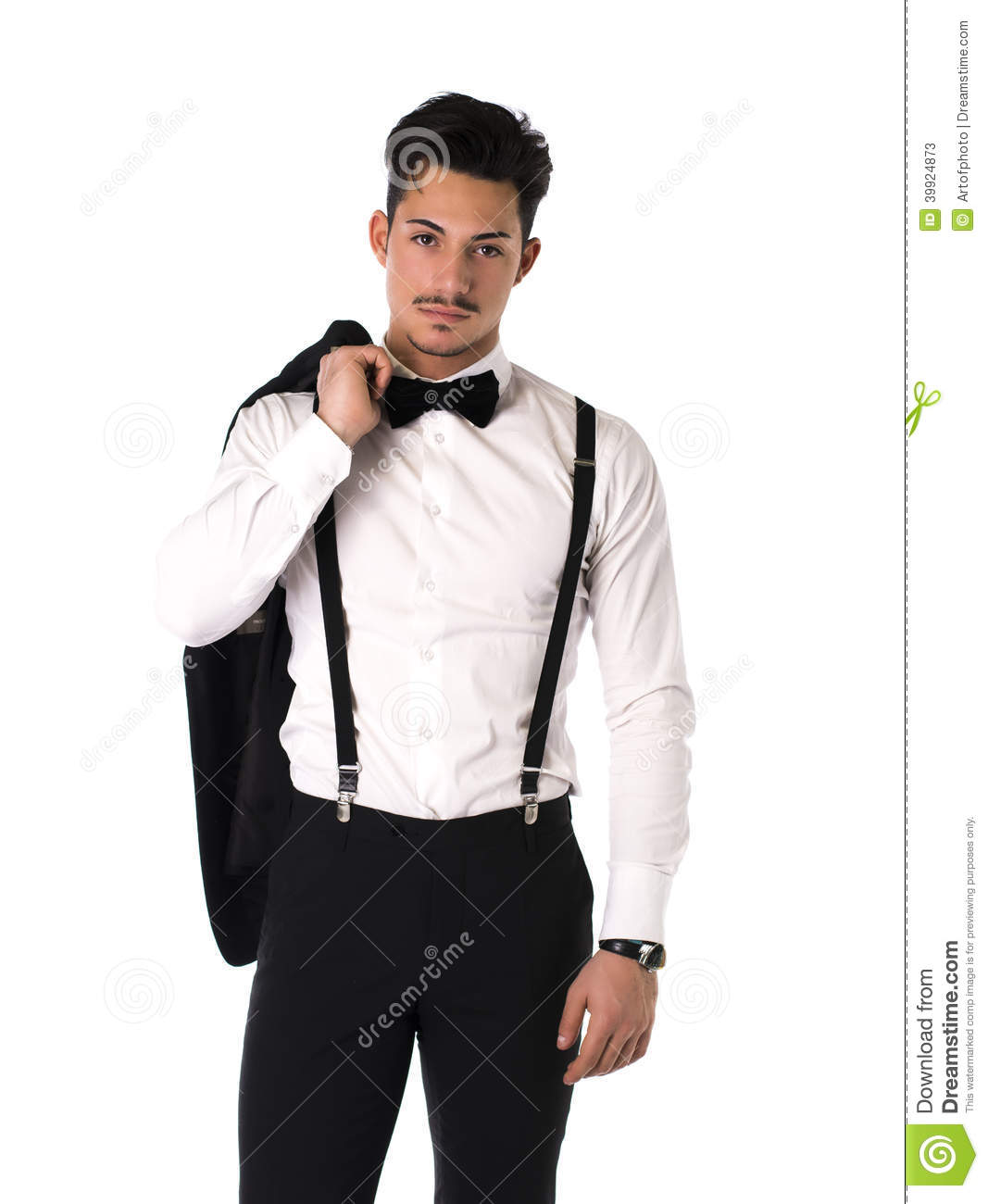 handsome elegant young man with suit bow tie and moustache stock photo image 39924873. Black Bedroom Furniture Sets. Home Design Ideas