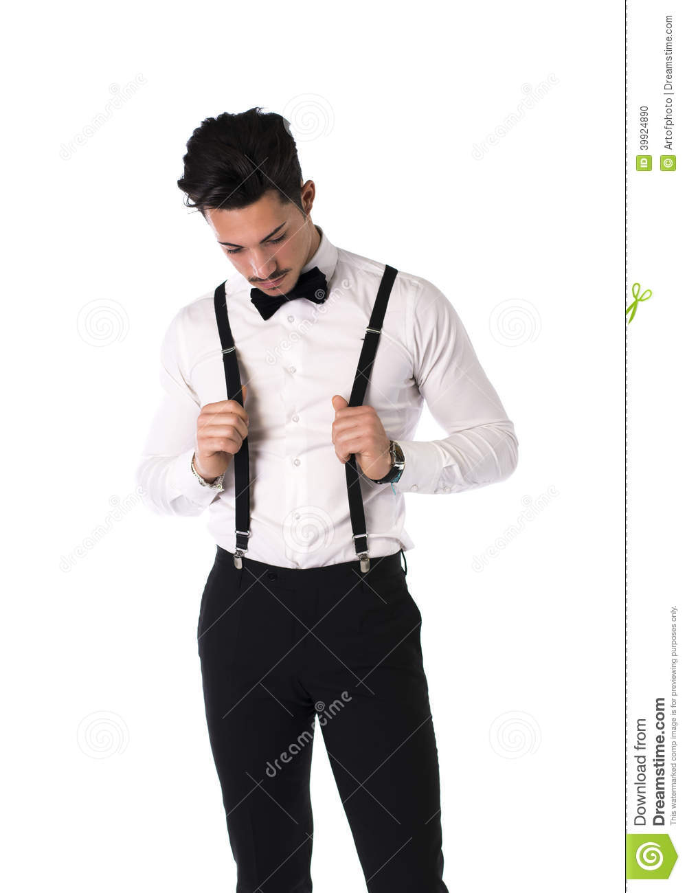 The suspenders are elastic and the bow ties are not a very shinny satin. This wizard will have you pick the color of suspender and then the bow tie. You will get a discount on the set at the end.