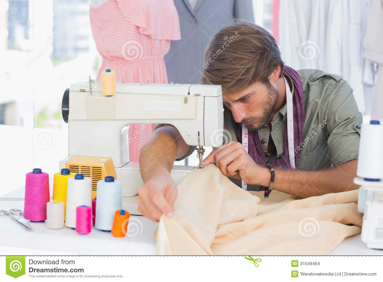 handsome fashion designer sewing stock images image
