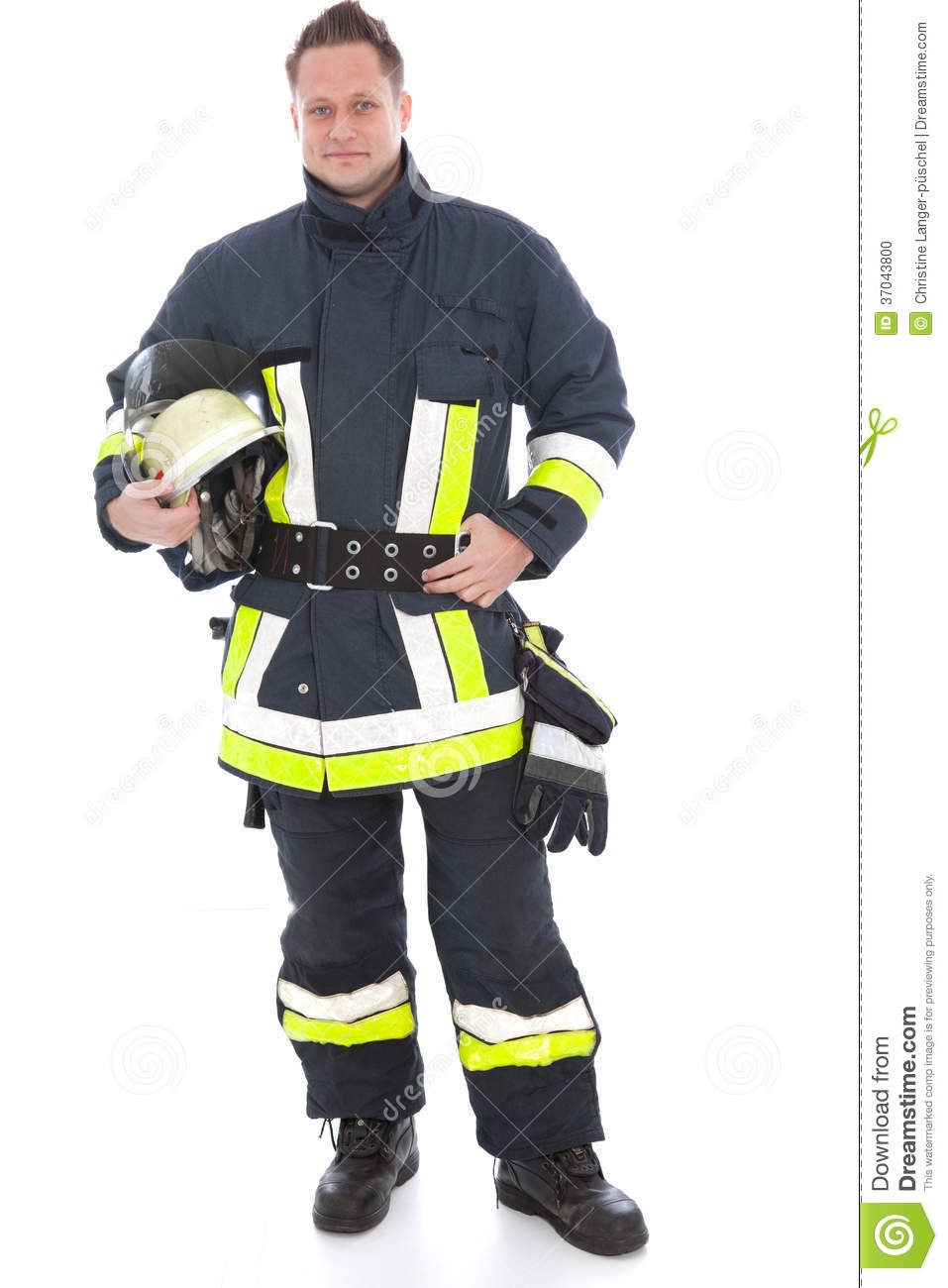 Handsome Fireman In His Uniform And Gear Stock Photo - Image: 37043800