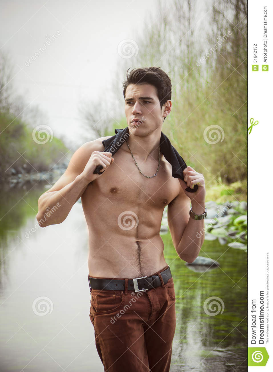 Attractive Muscular Young Shirtless Athletic Man Stock