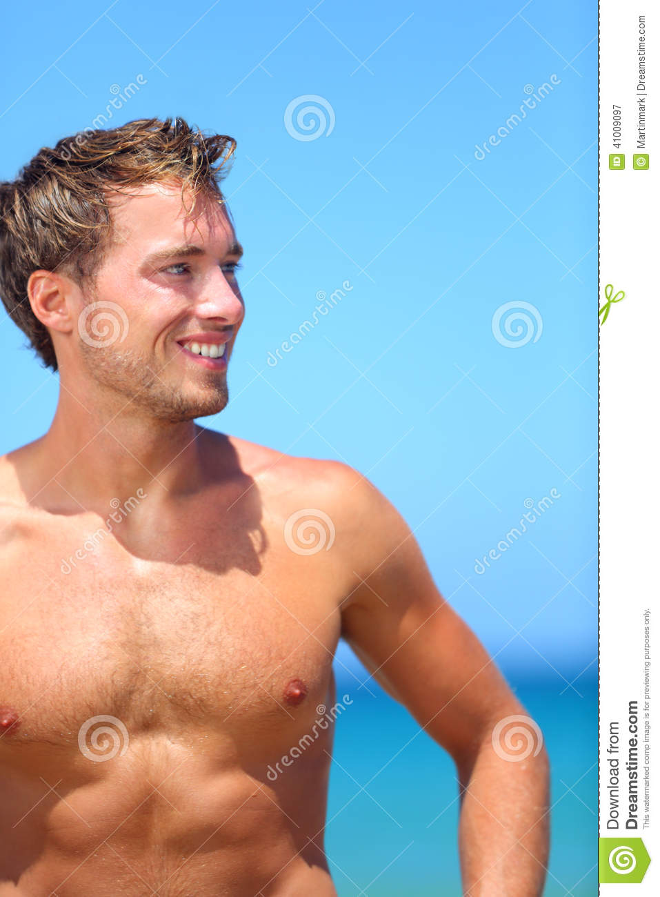 Handsome Good-Looking Man On Beach Smiling Happy Stock Photo - Image 41009097-6442