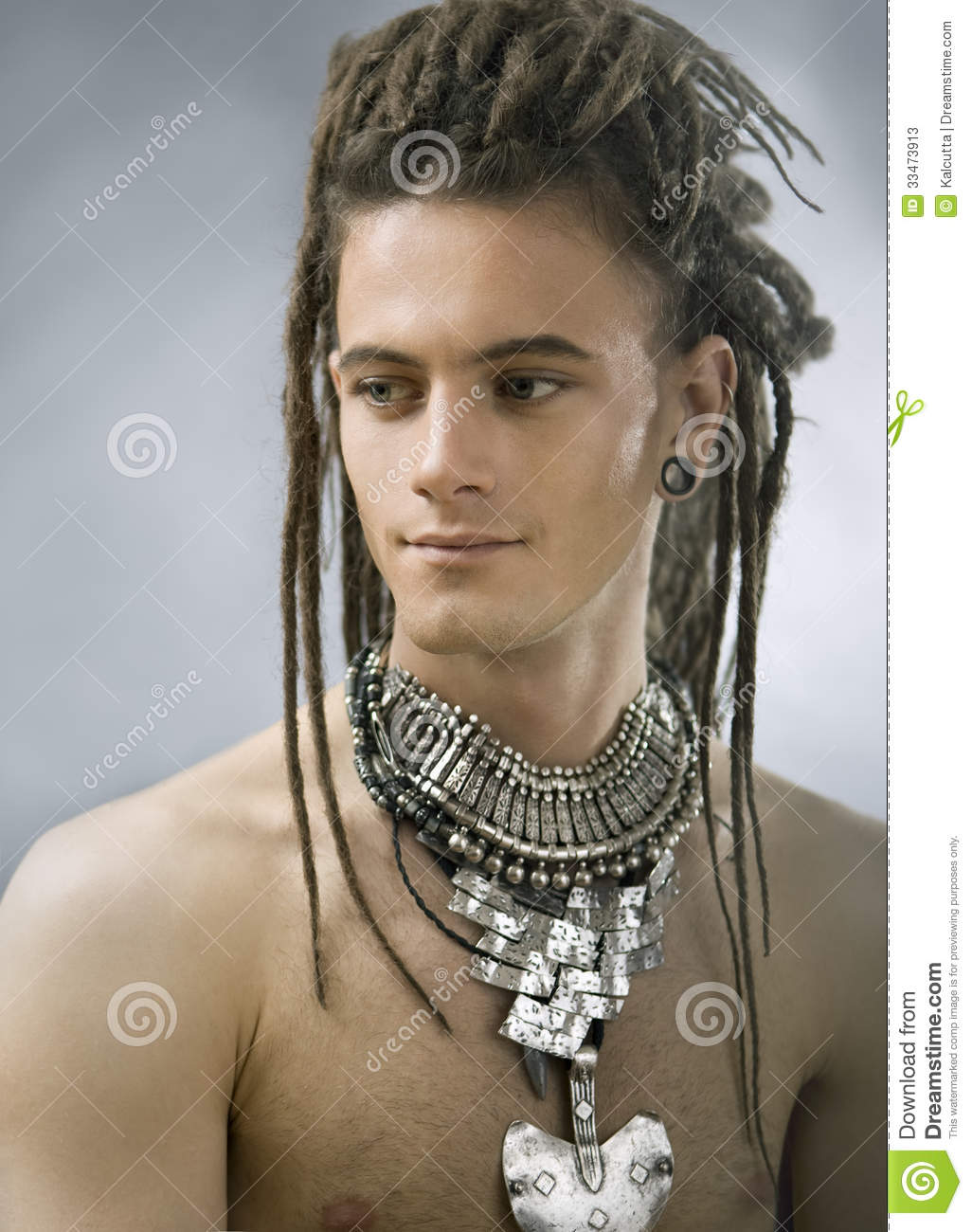 Handsome Guy With Dreadlocks And Jewelry Stock Photos