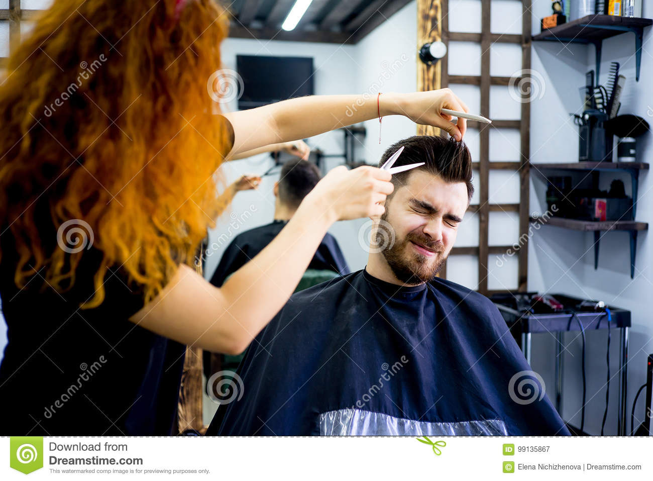 Guy Gets A Haircut Stock Image Image Of Stylist Comb 99135867