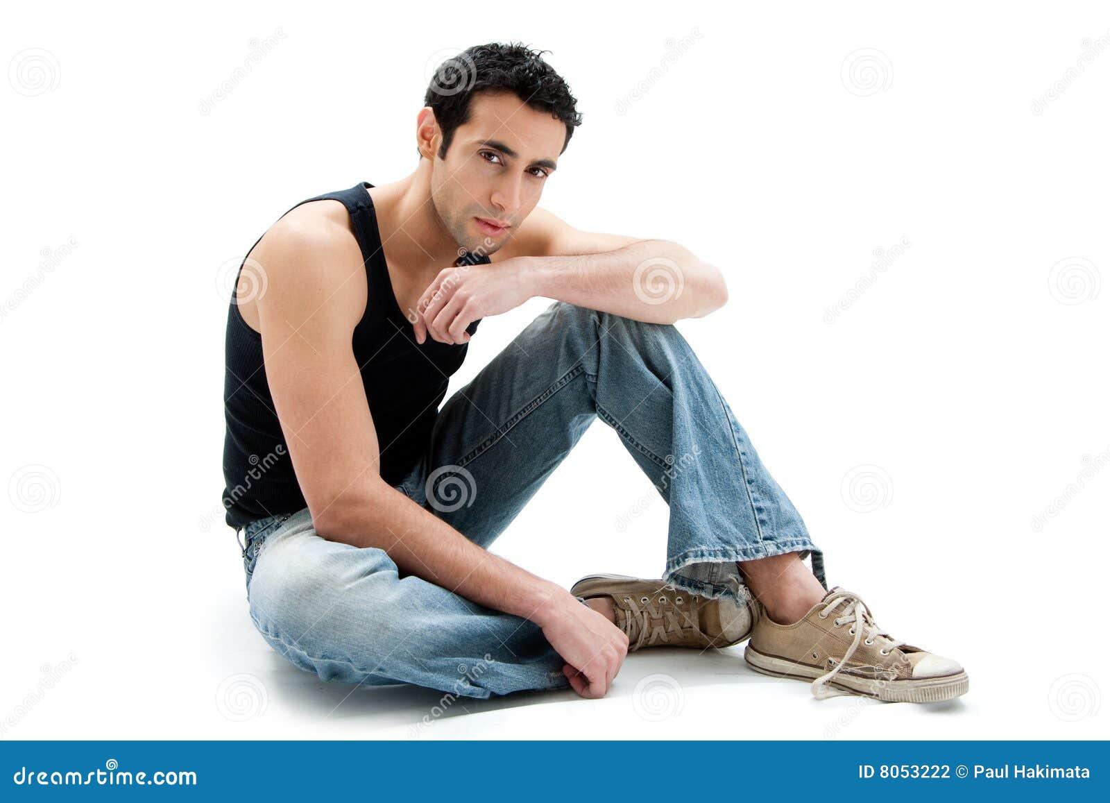 handsome guy sitting on floor stock photo image of jeans. Black Bedroom Furniture Sets. Home Design Ideas