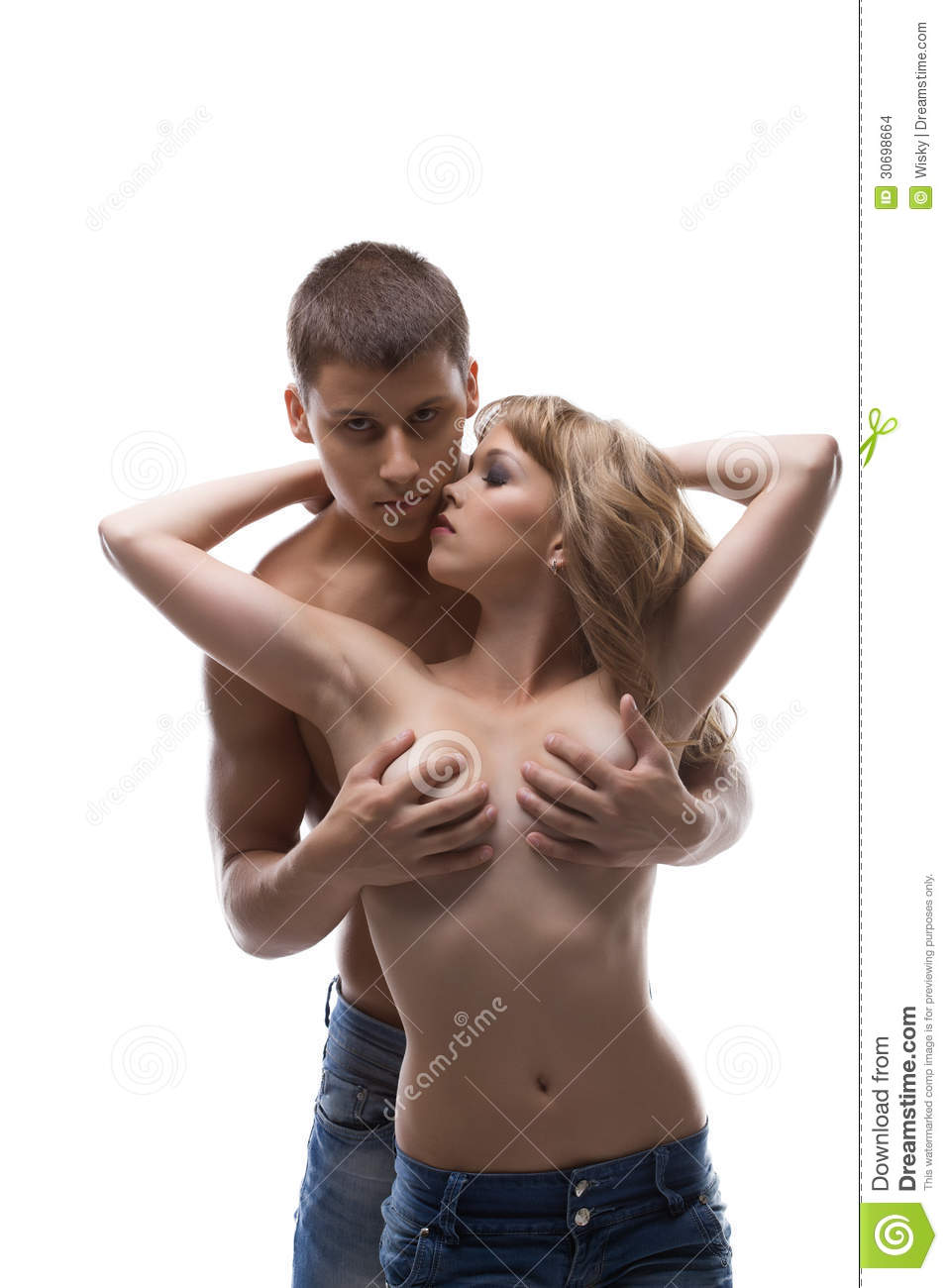 naked men touching women
