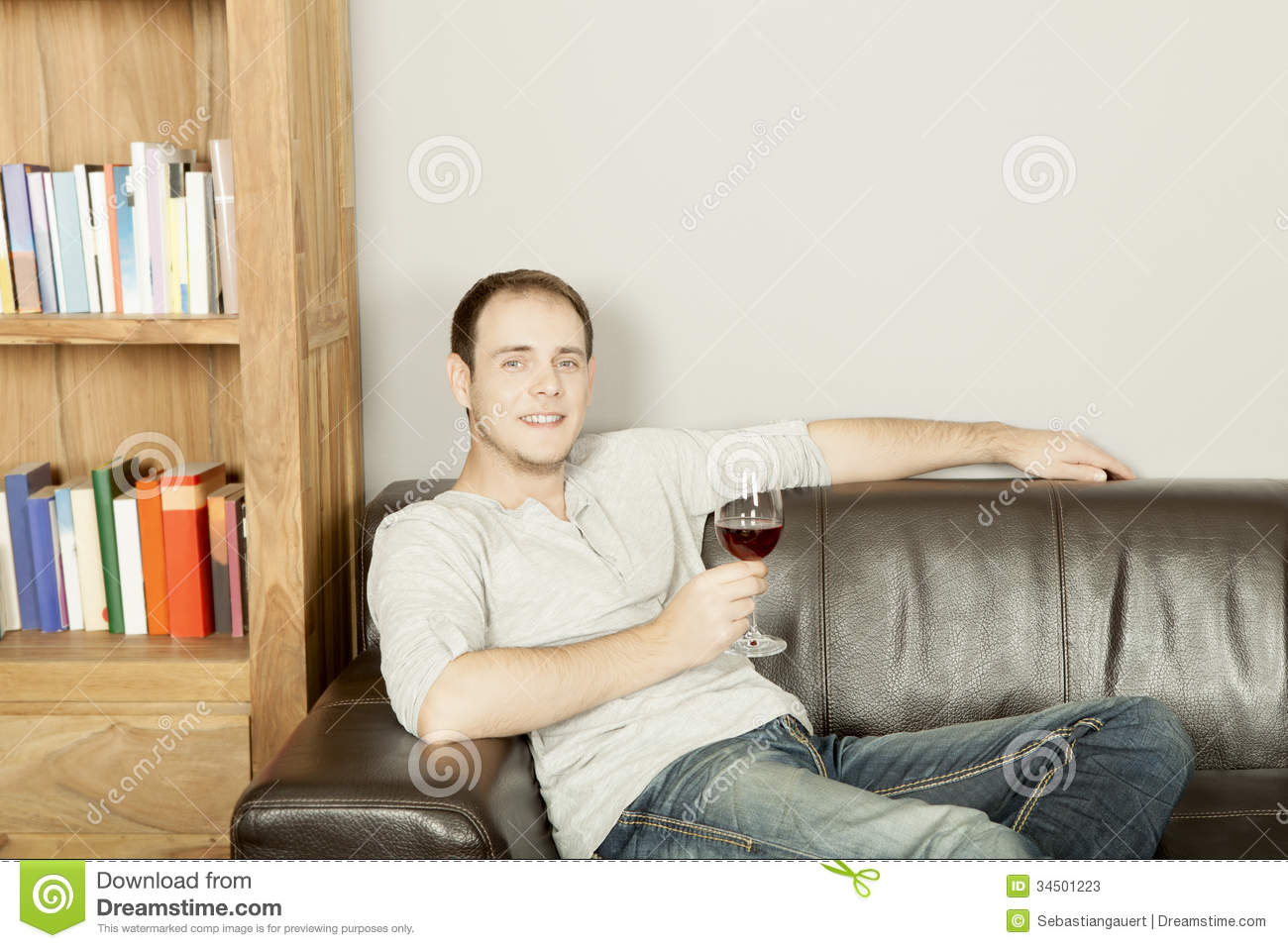 Royalty-Free Stock Photo  sc 1 st  Dreamstime.com & Handsome Happy Man Relaxing With A Glass Of Wine Stock Photos ... islam-shia.org