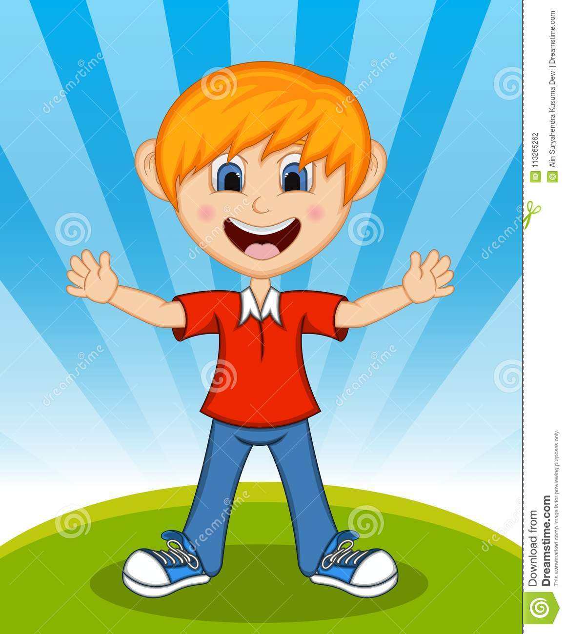 handsome little boy with background cartoon stock vector