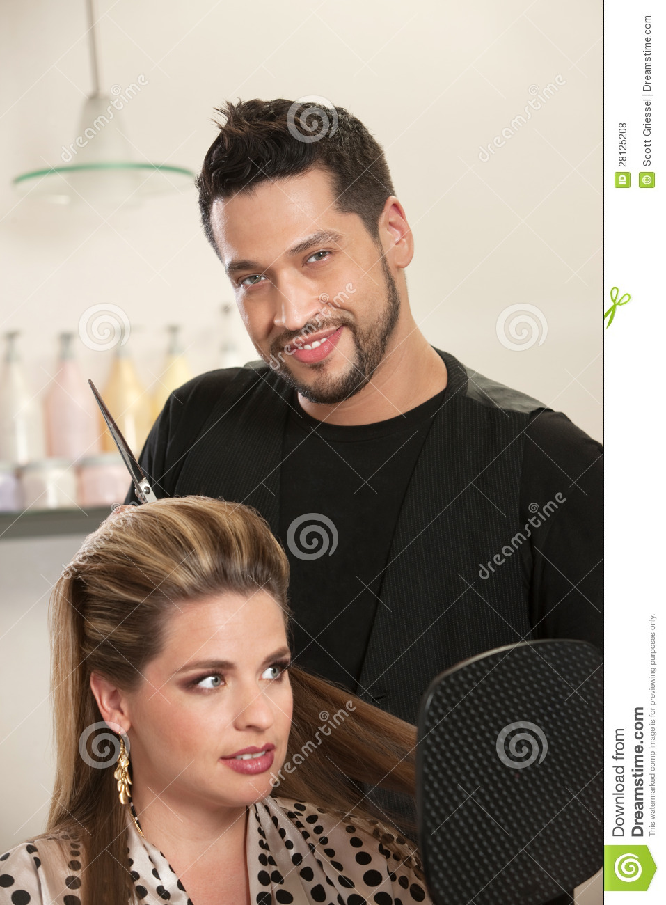 Handsome Male Hairdresser With Client Royalty Free Stock
