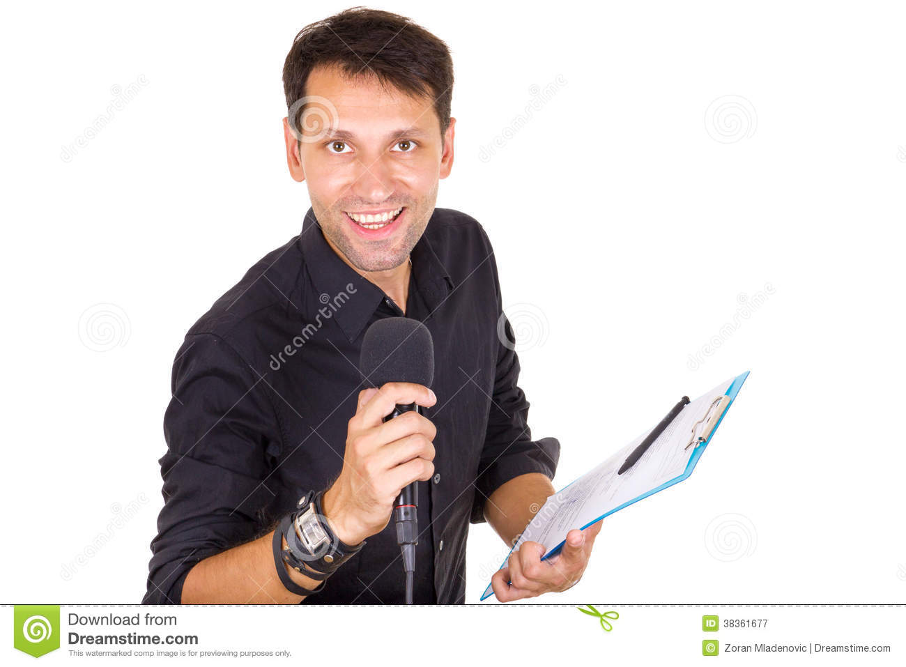 Handsome male journalist reporting news on microphone with notes